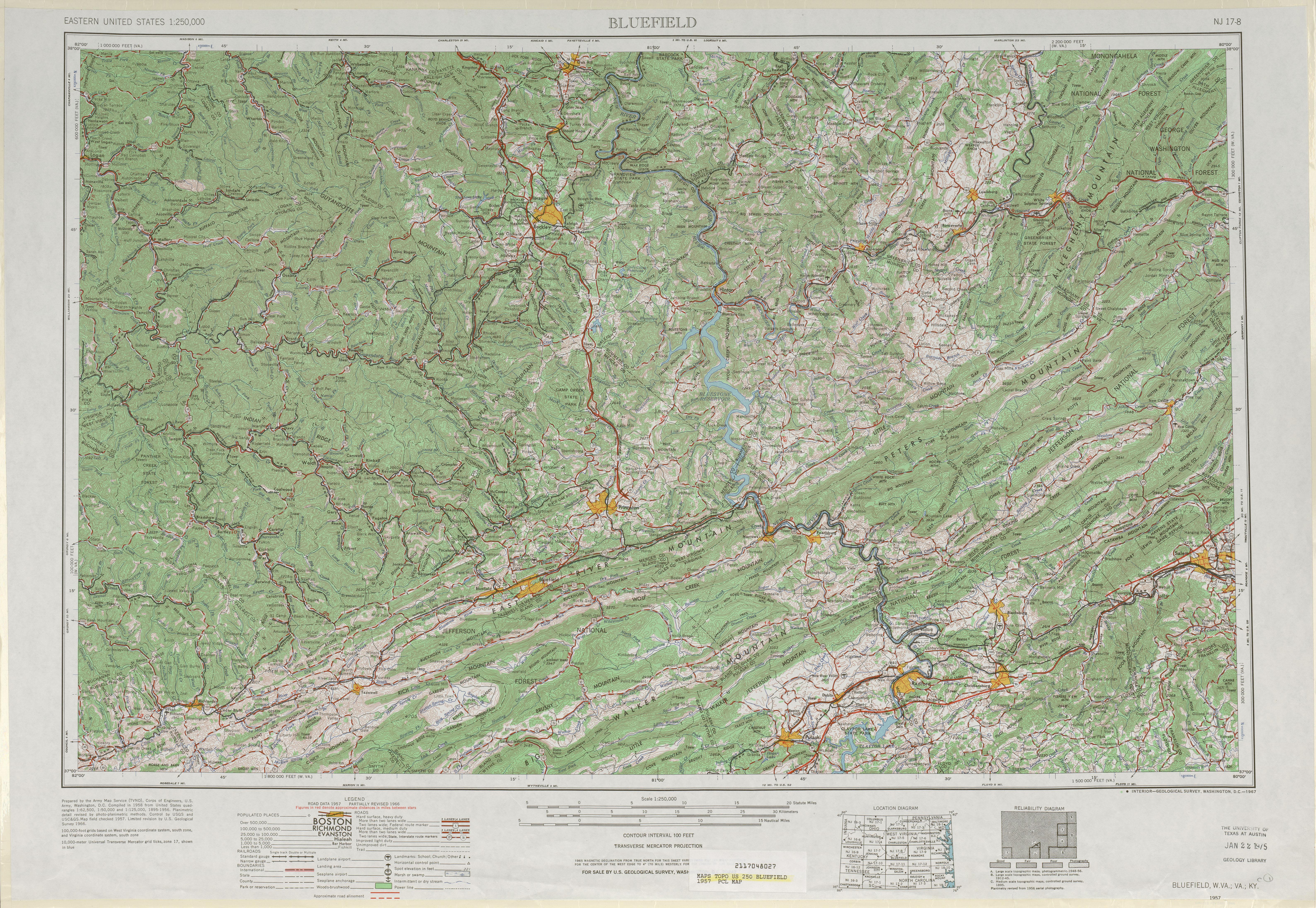 Hoja Bluefield del Mapa Topográfico de los Estados Unidos 1957