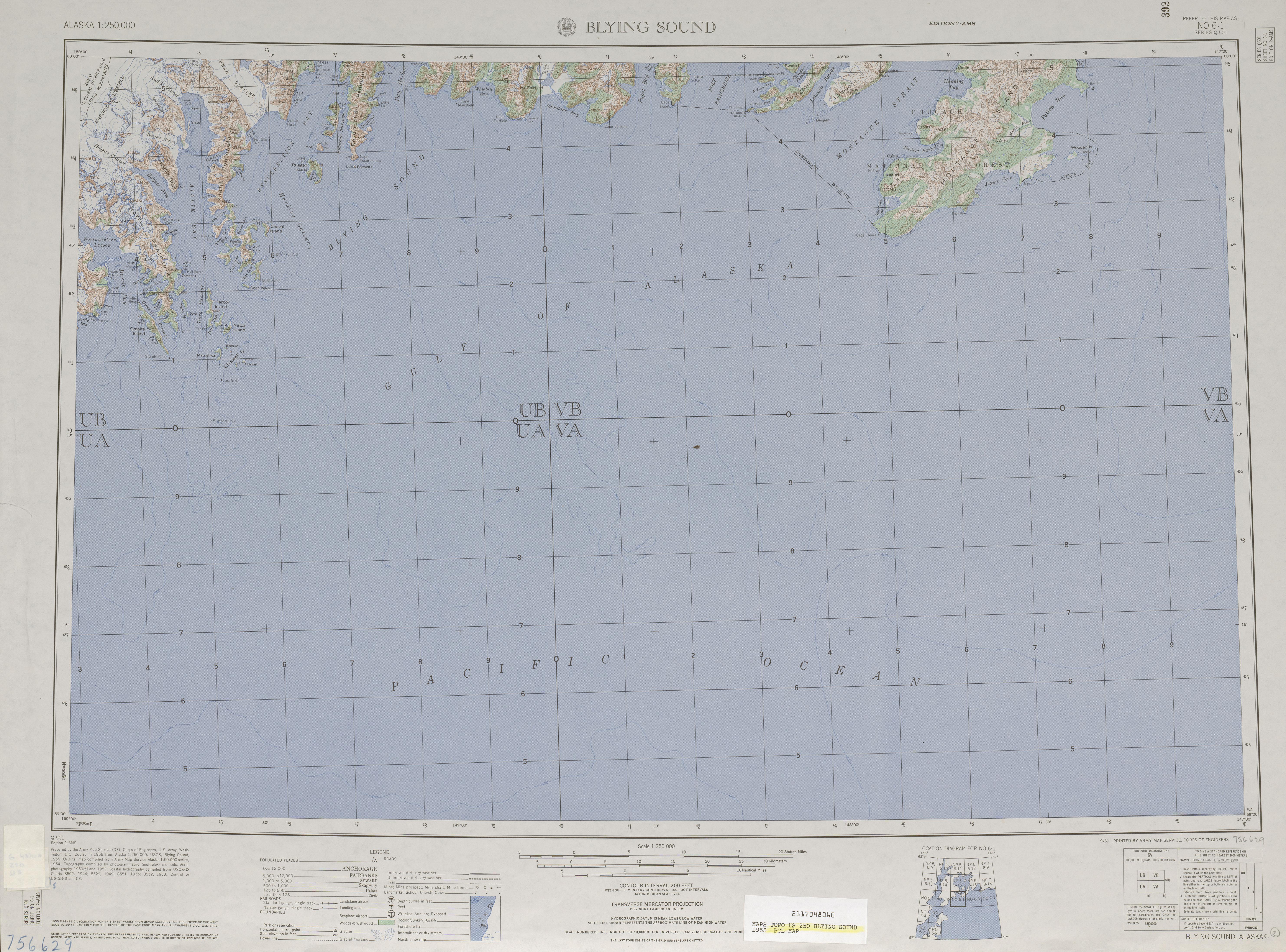Hoja Blying Sound del Mapa Topográfico de los Estados Unidos 1955