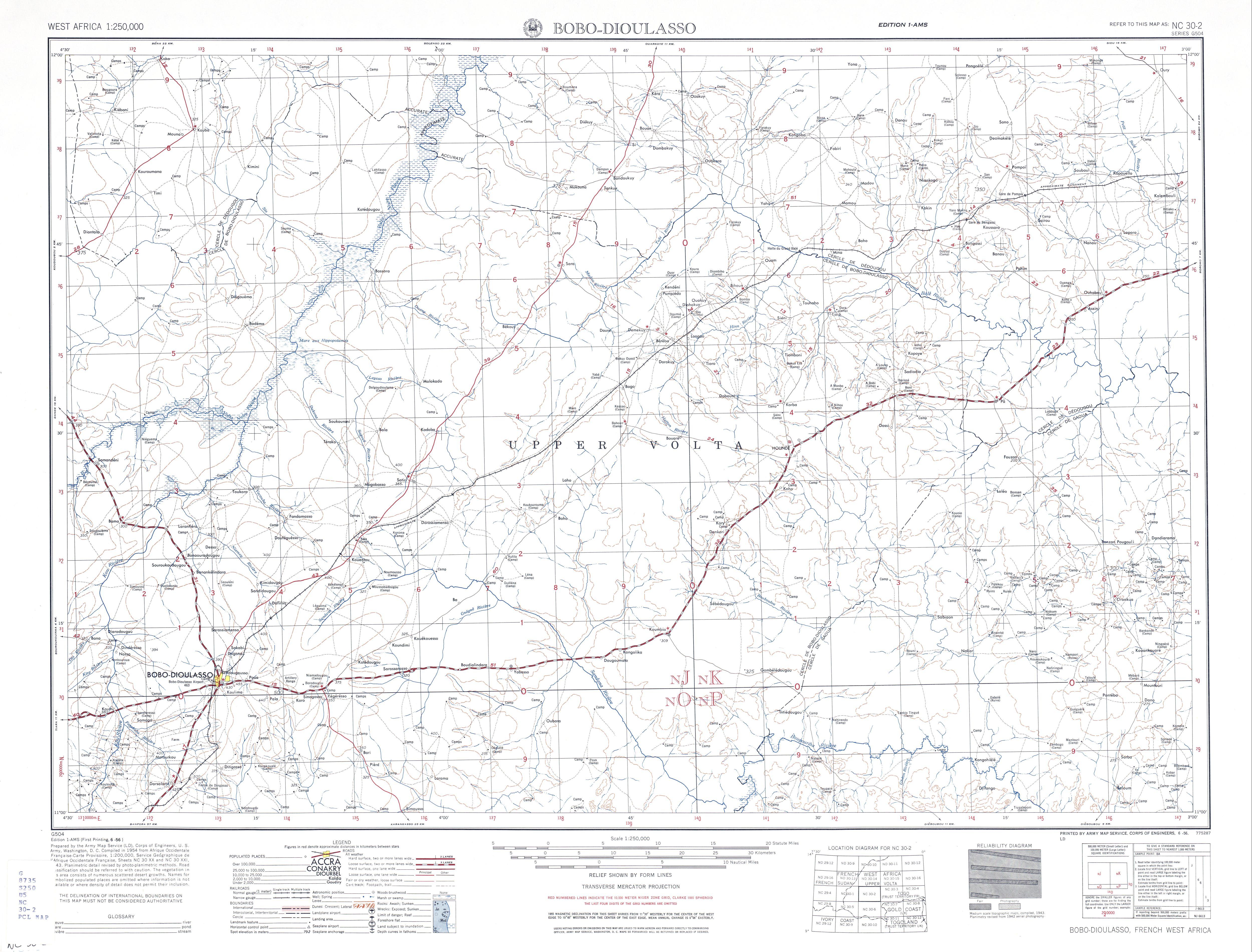 Hoja Bobo - Dioulasso del Mapa Topográfico de África Occidental 1955