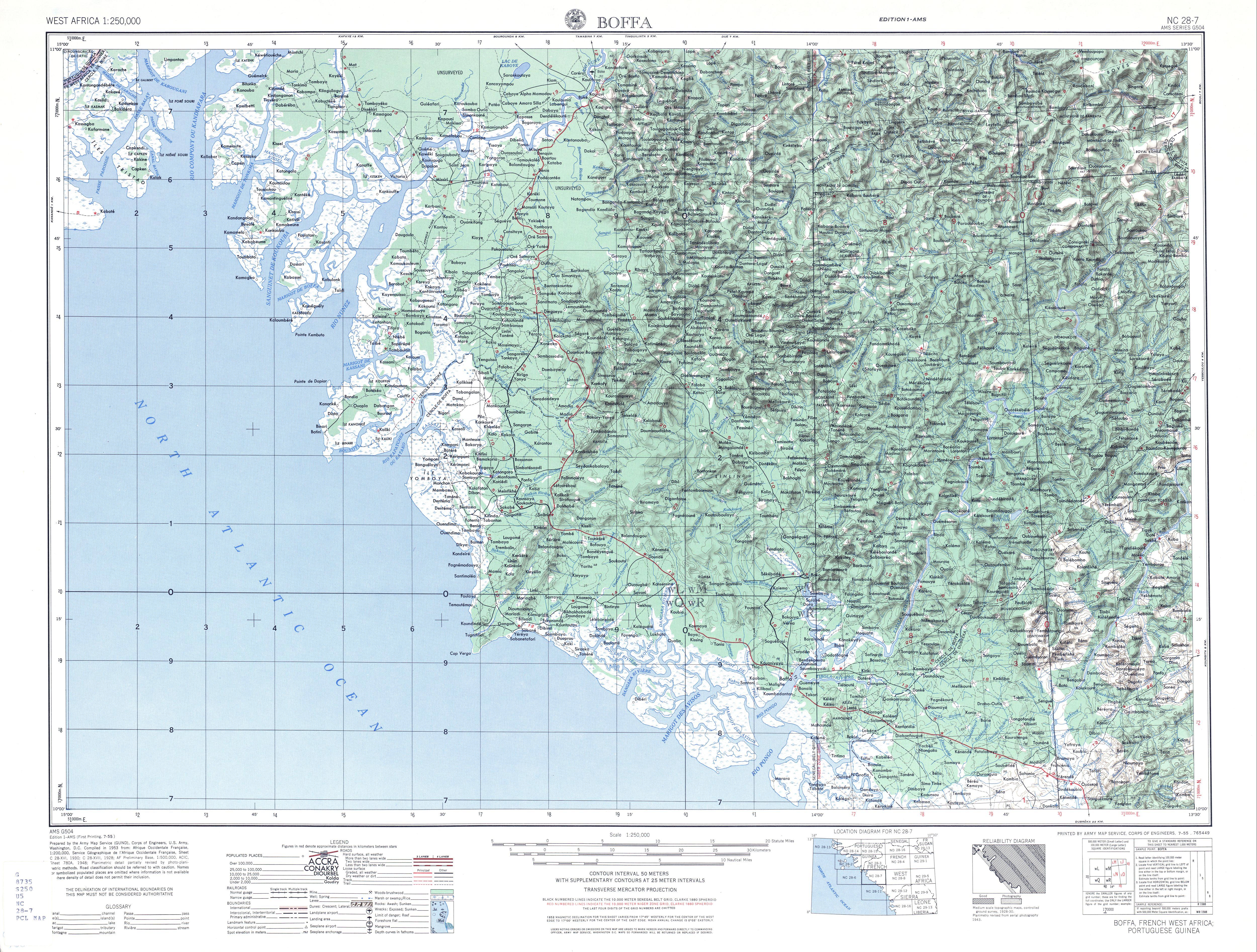 Hoja Boffa del Mapa Topográfico de África Occidental 1955