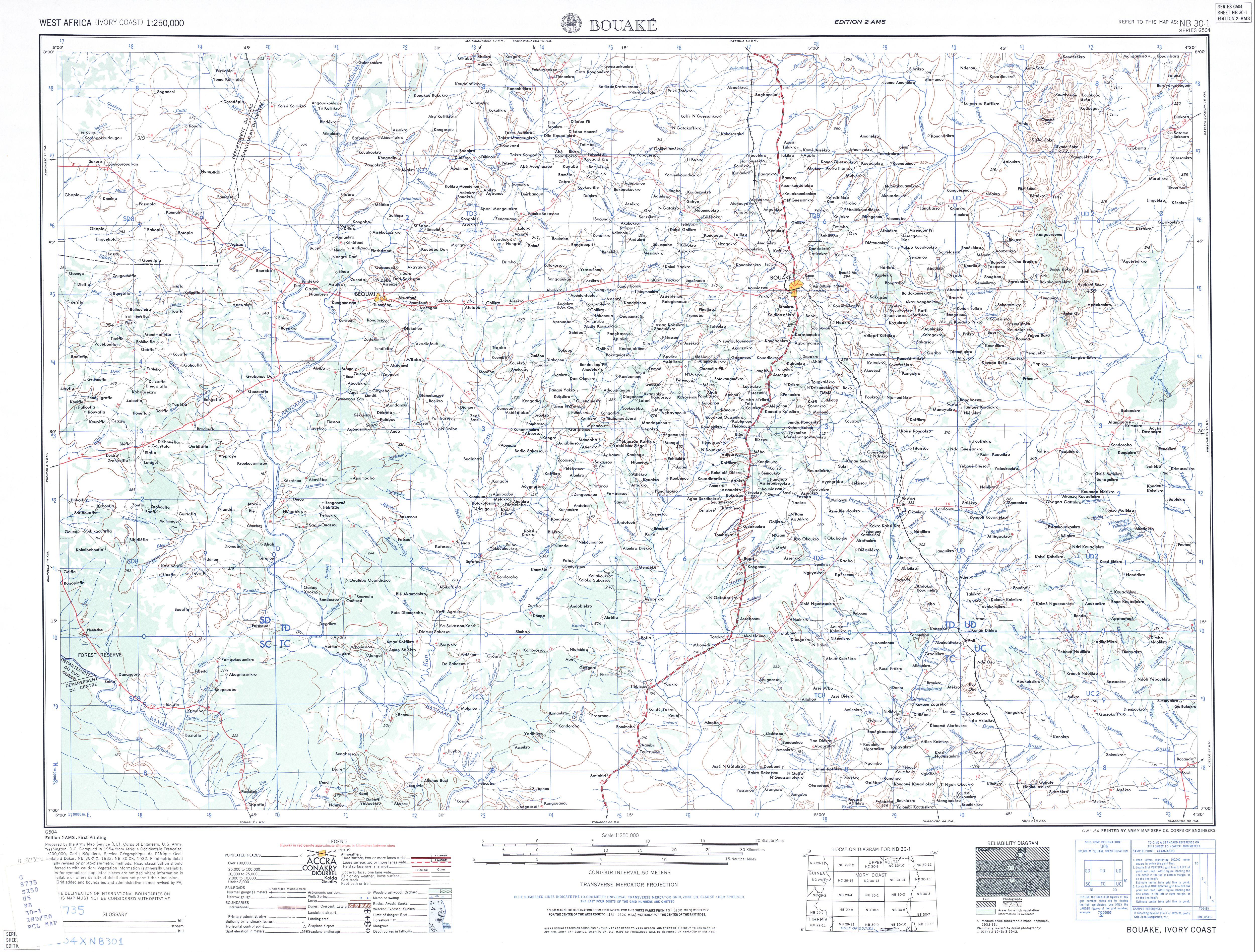 Bouake Topographic Map Sheet, Western Africa 1955