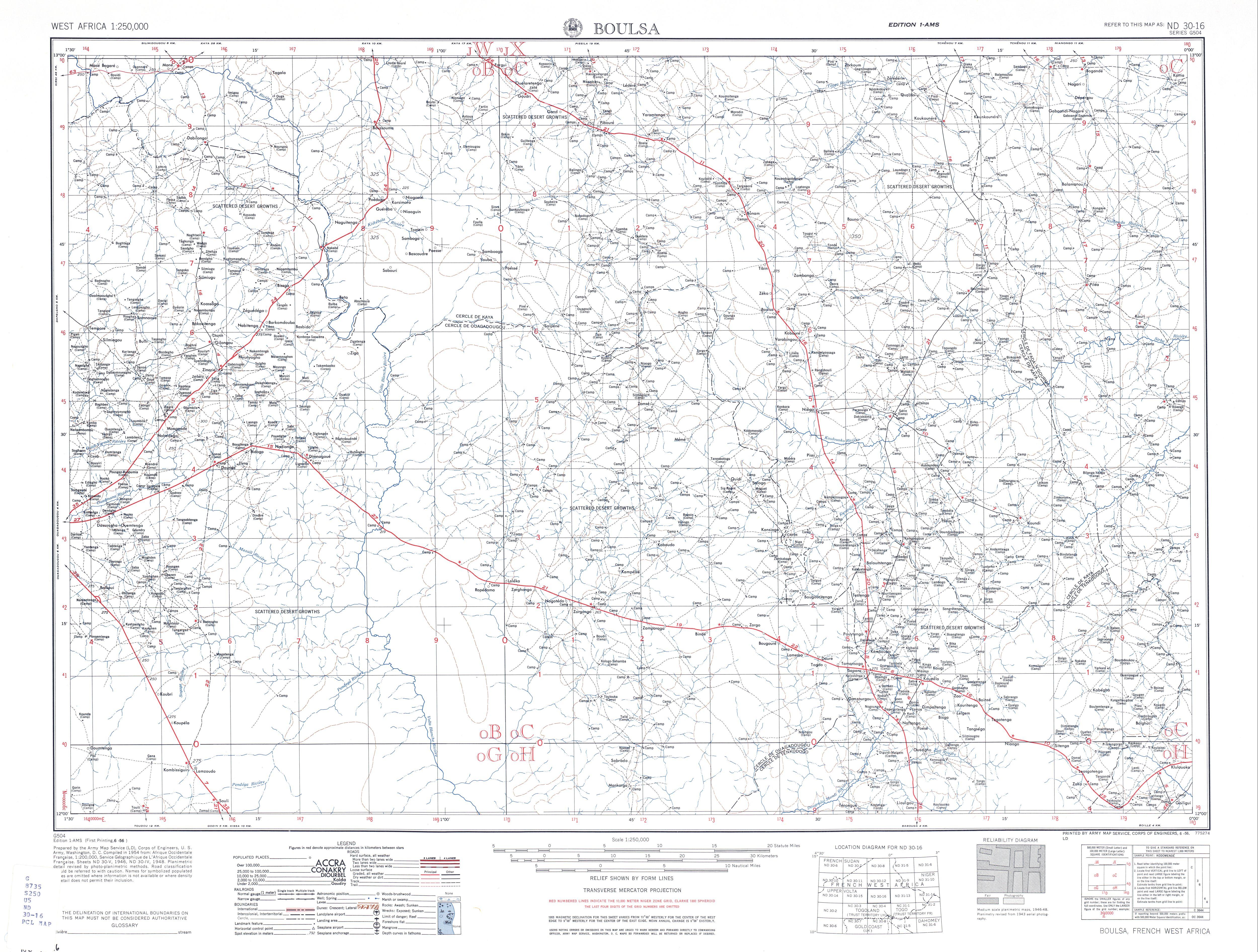 Hoja Boulsa del Mapa Topográfico de África Occidental 1955