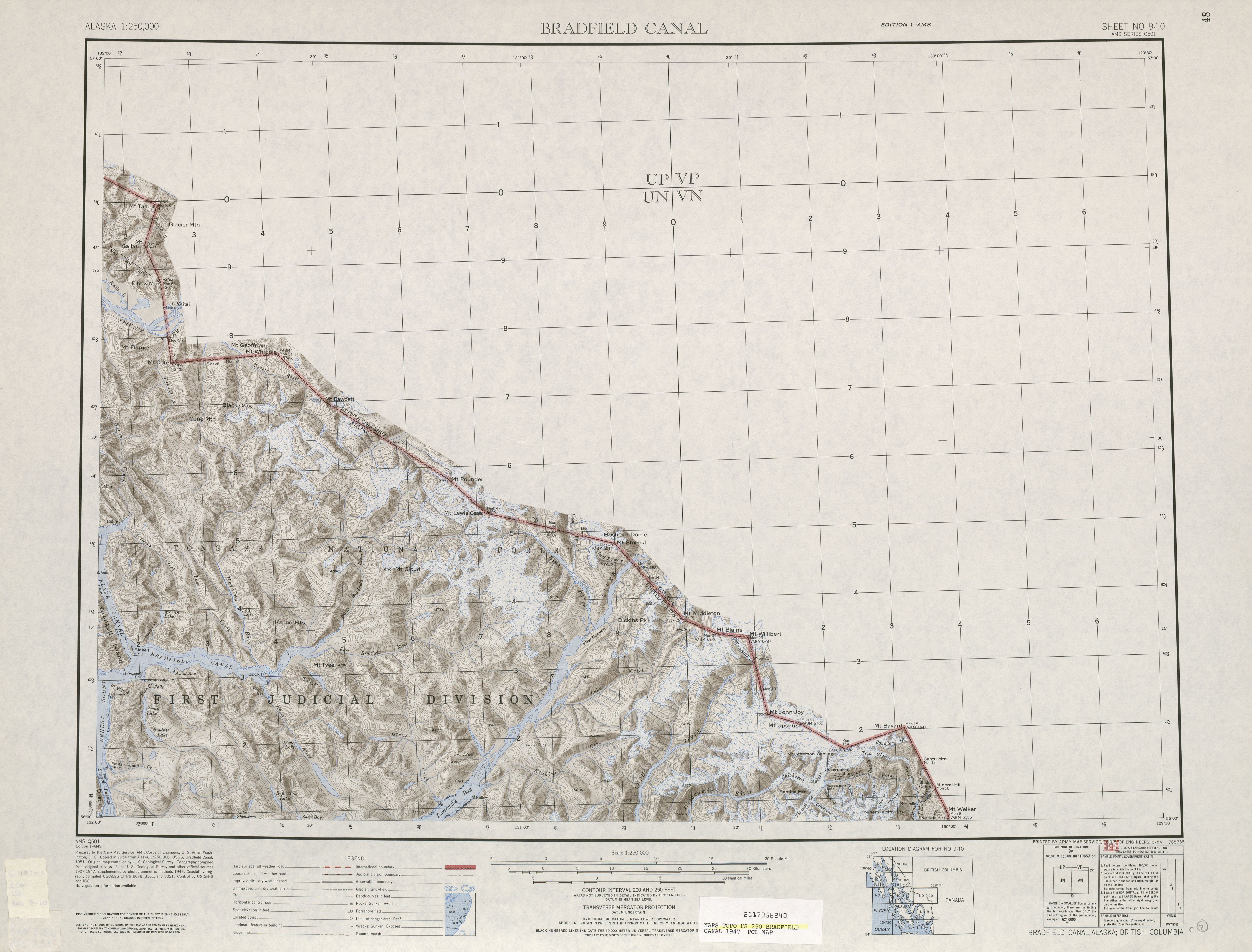 Bradfield Canal Shaded Relief Map Sheet, United States 1947