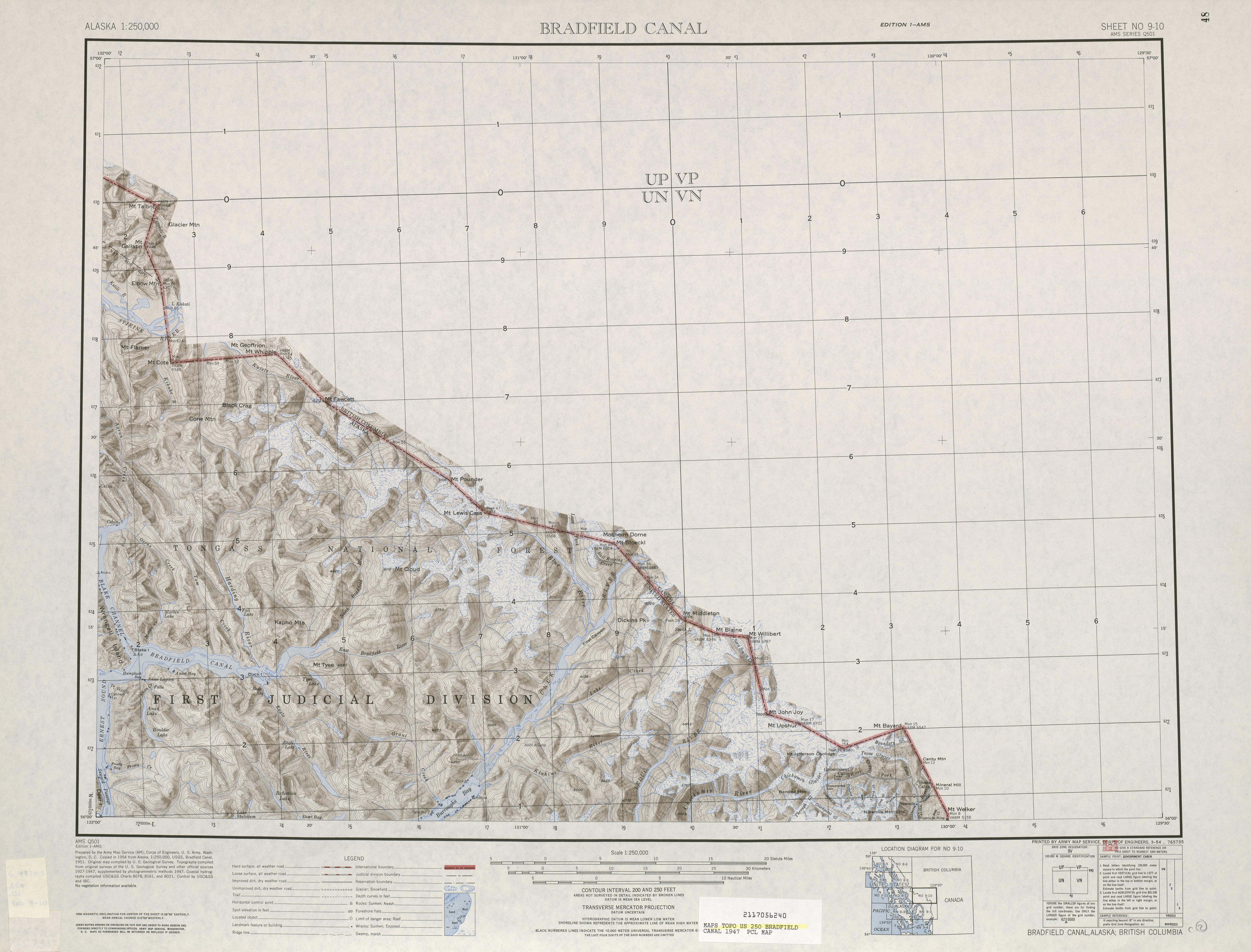 Hoja Bradfield Canal del Mapa de Relieve Sombreado de los Estados Unidos 1947
