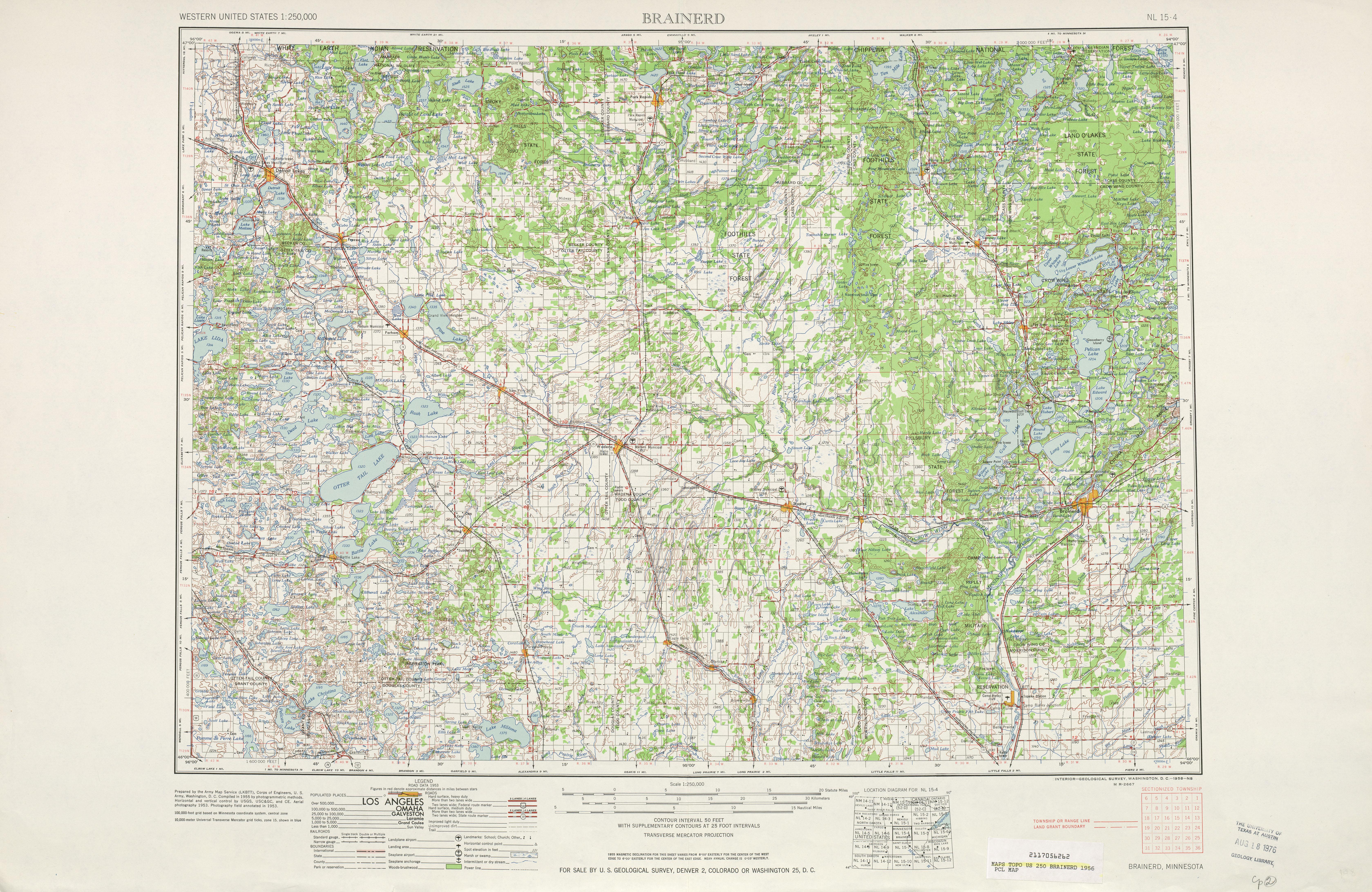 Hoja Brainerd del Mapa Topográfico de los Estados Unidos 1956
