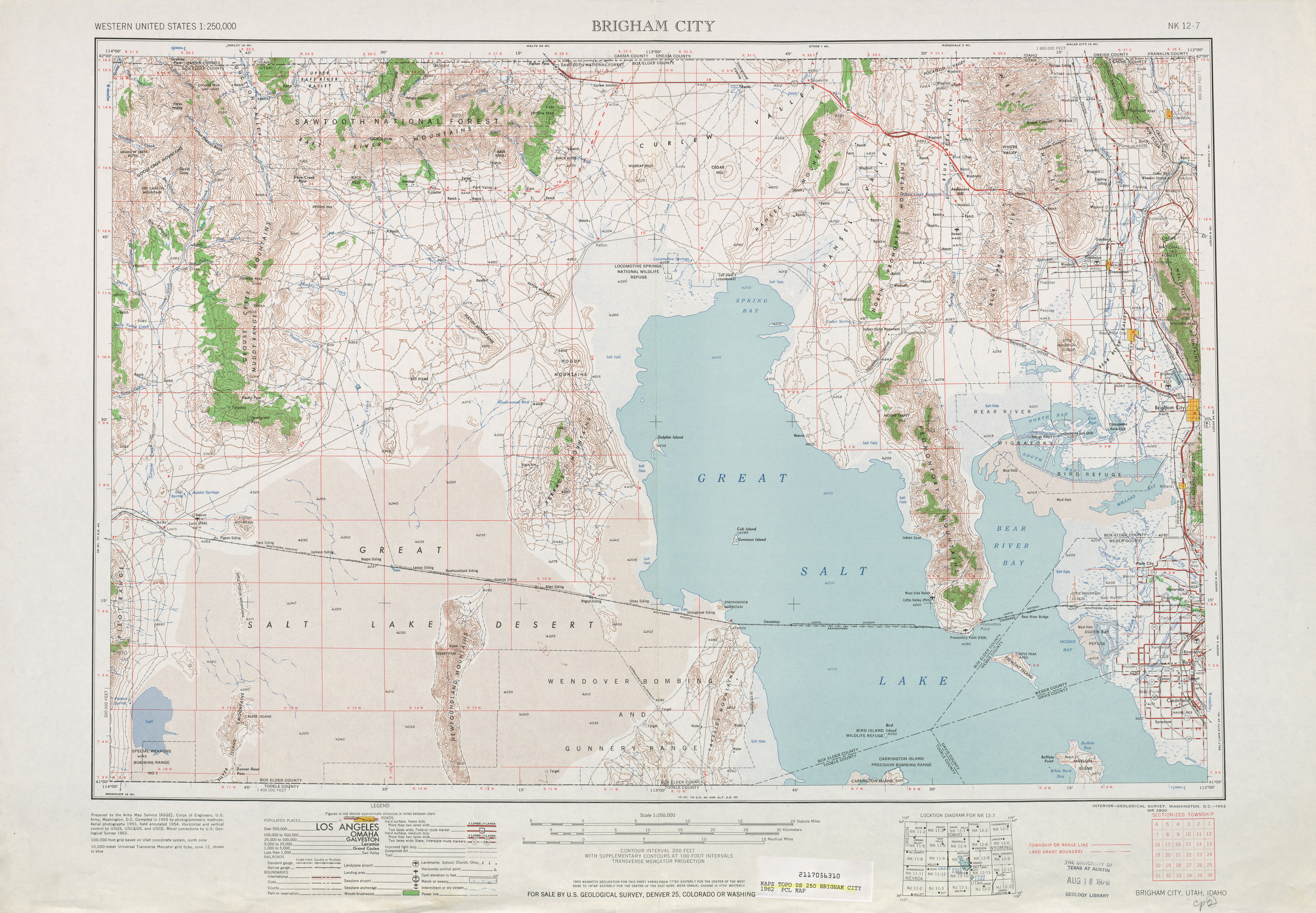 Hoja Brigham City del Mapa Topográfico de los Estados Unidos 1962