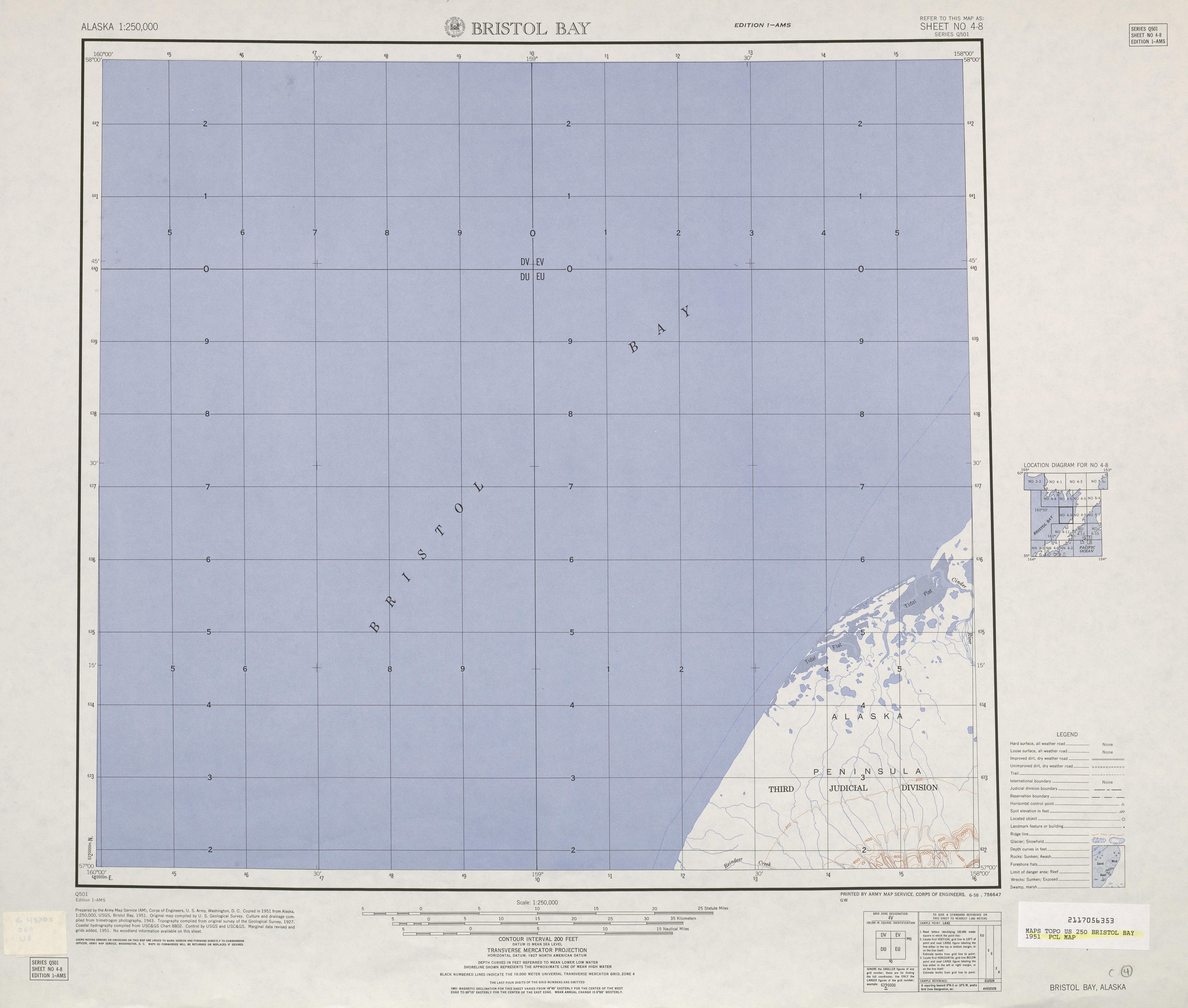 Hoja Bristol Bay del Mapa Topográfico de los Estados Unidos 1951