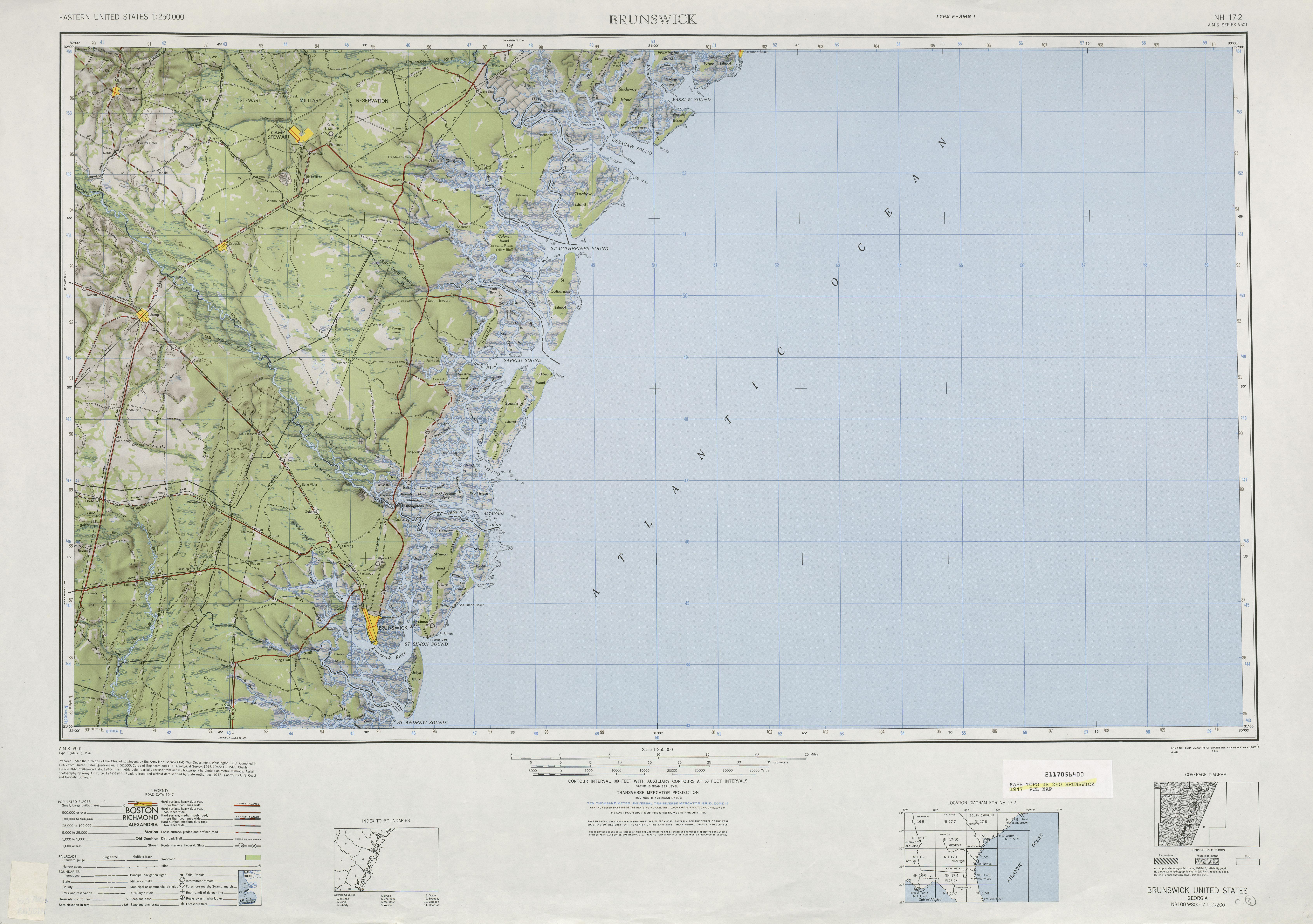 Hoja Brunswick del Mapa de Relieve Sombreado de los Estados Unidos 1947