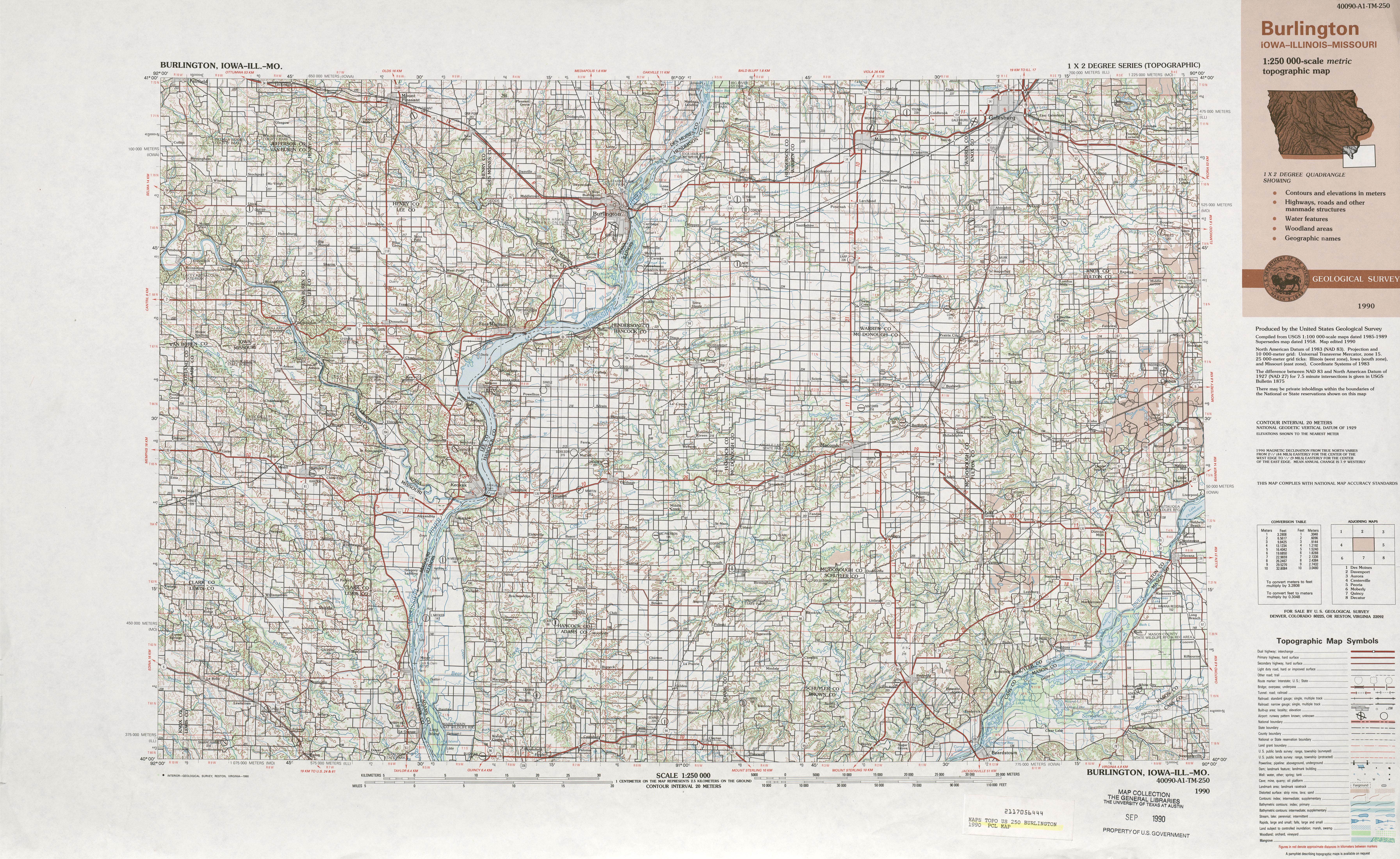 Hoja Burlington del Mapa Topográfico de los Estados Unidos 1990
