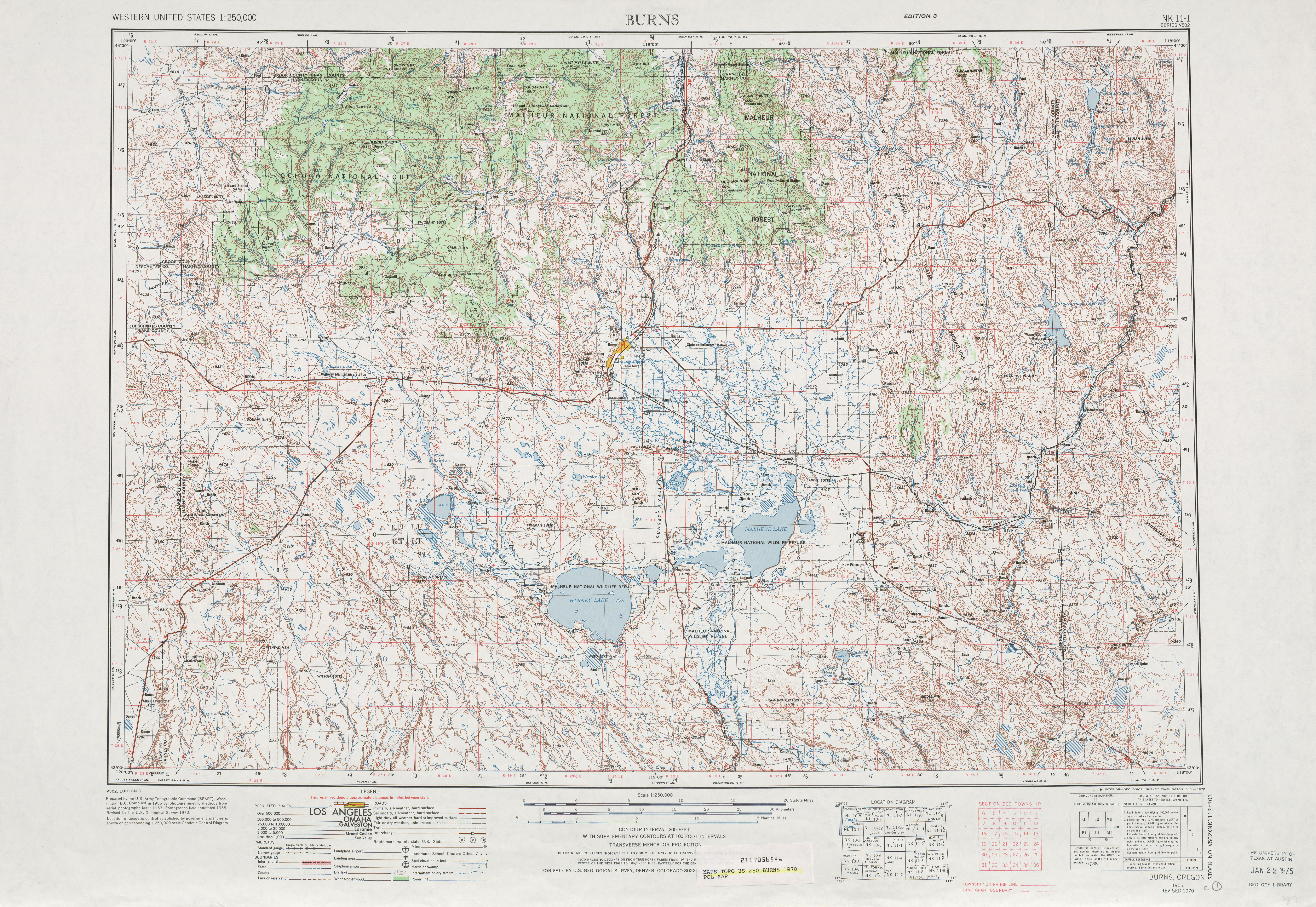 Burns Topographic Map Sheet, United States 1970