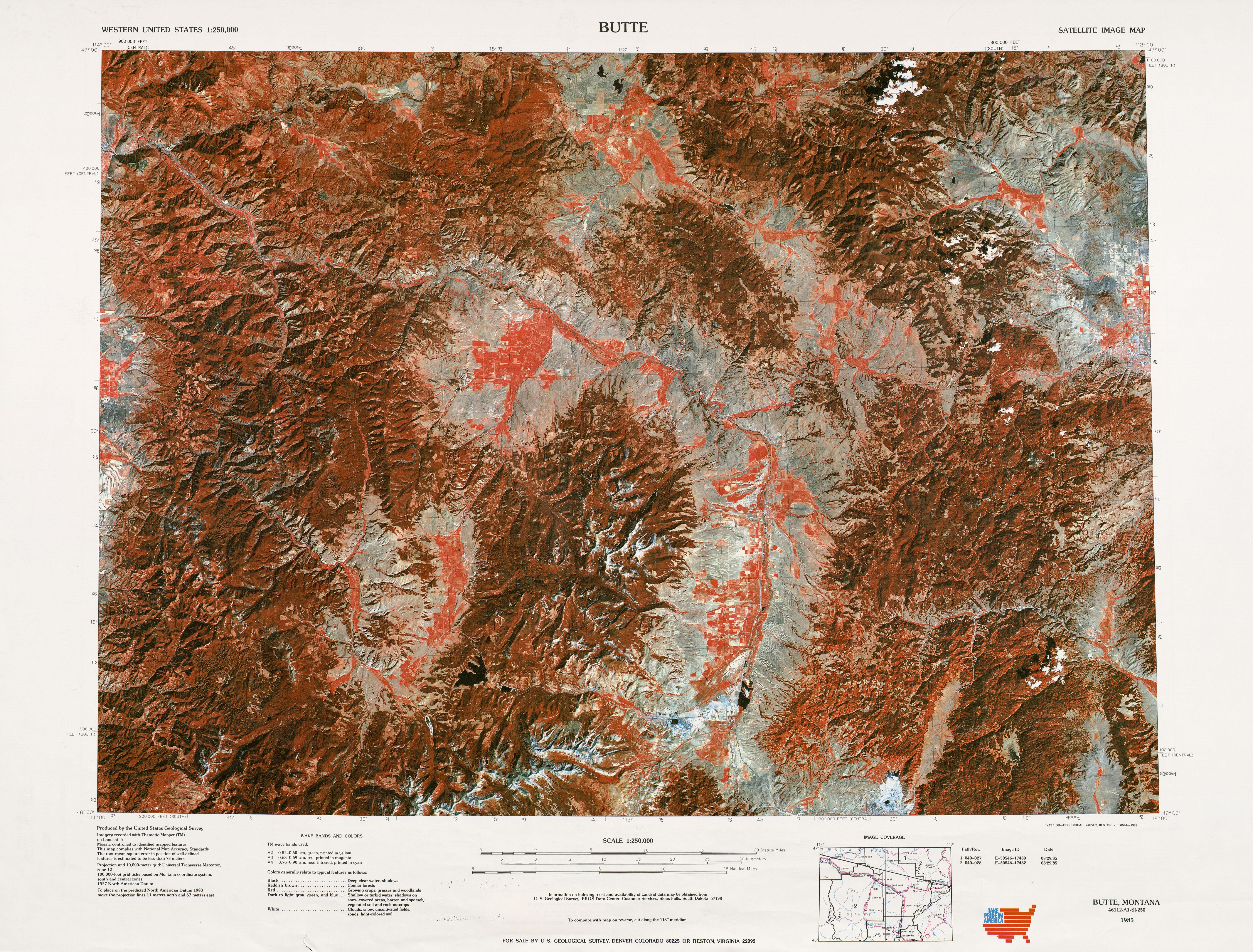 Hoja Butte de la Imagen Satelital de los Estados Unidos 1977