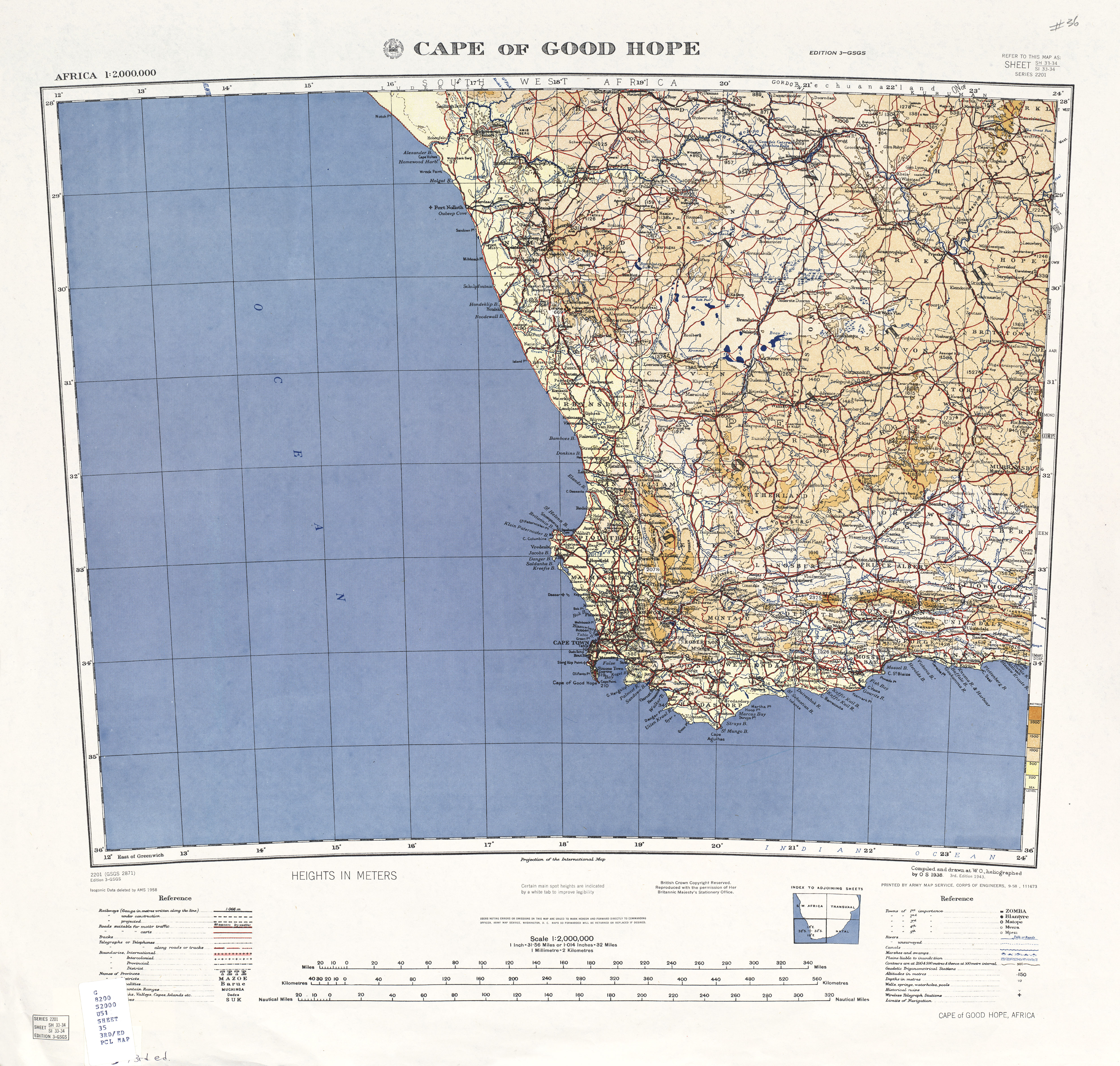 Cape of Good Hope Topographic Sheet Map, Africa 1958