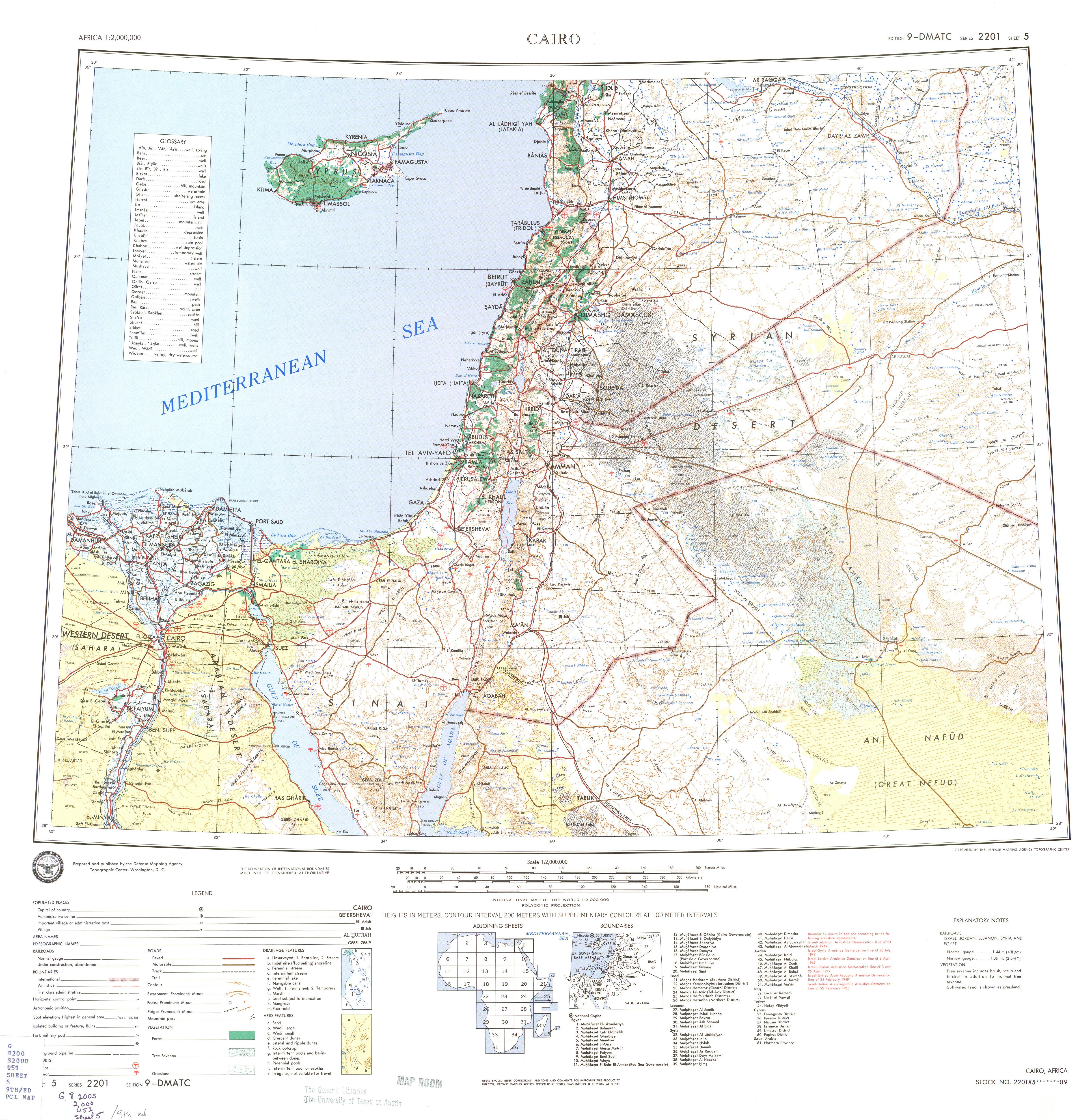 Hoja Cairo del Mapa Topográfico de África 1974