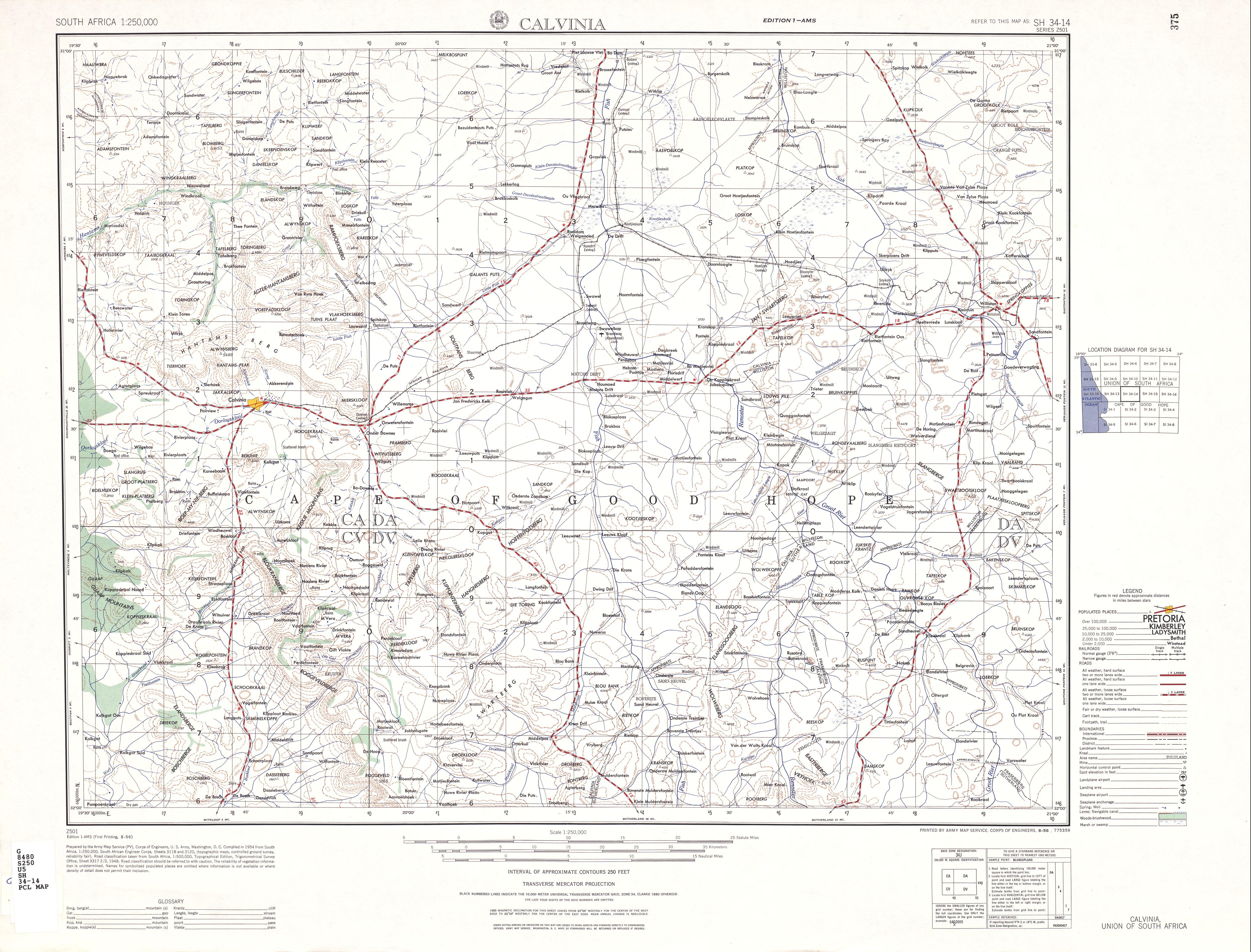 Hoja Calvinia del Mapa Topográfico de África Meridional 1954