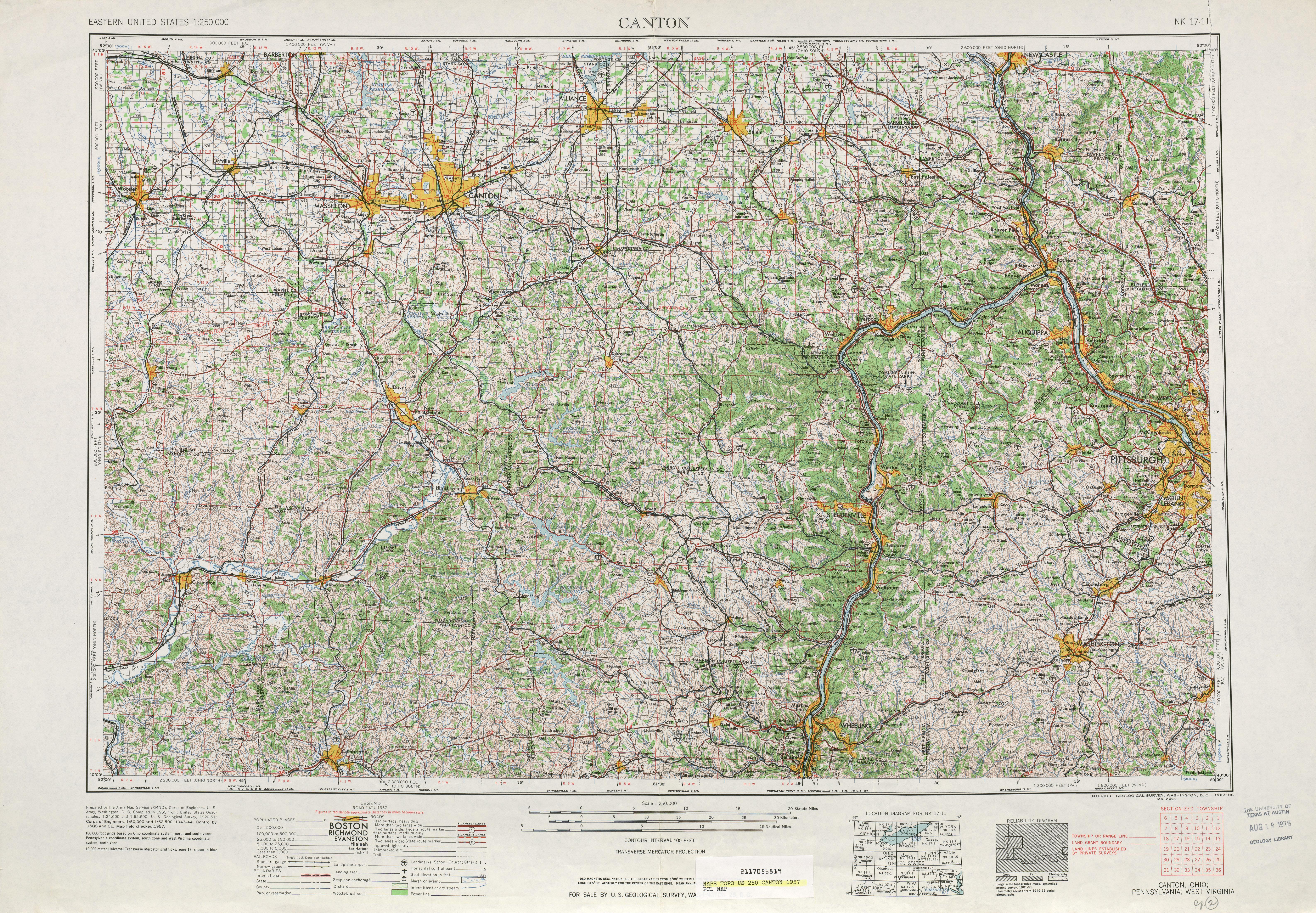 Hoja Cantón del Mapa Topográfico de los Estados Unidos 1957