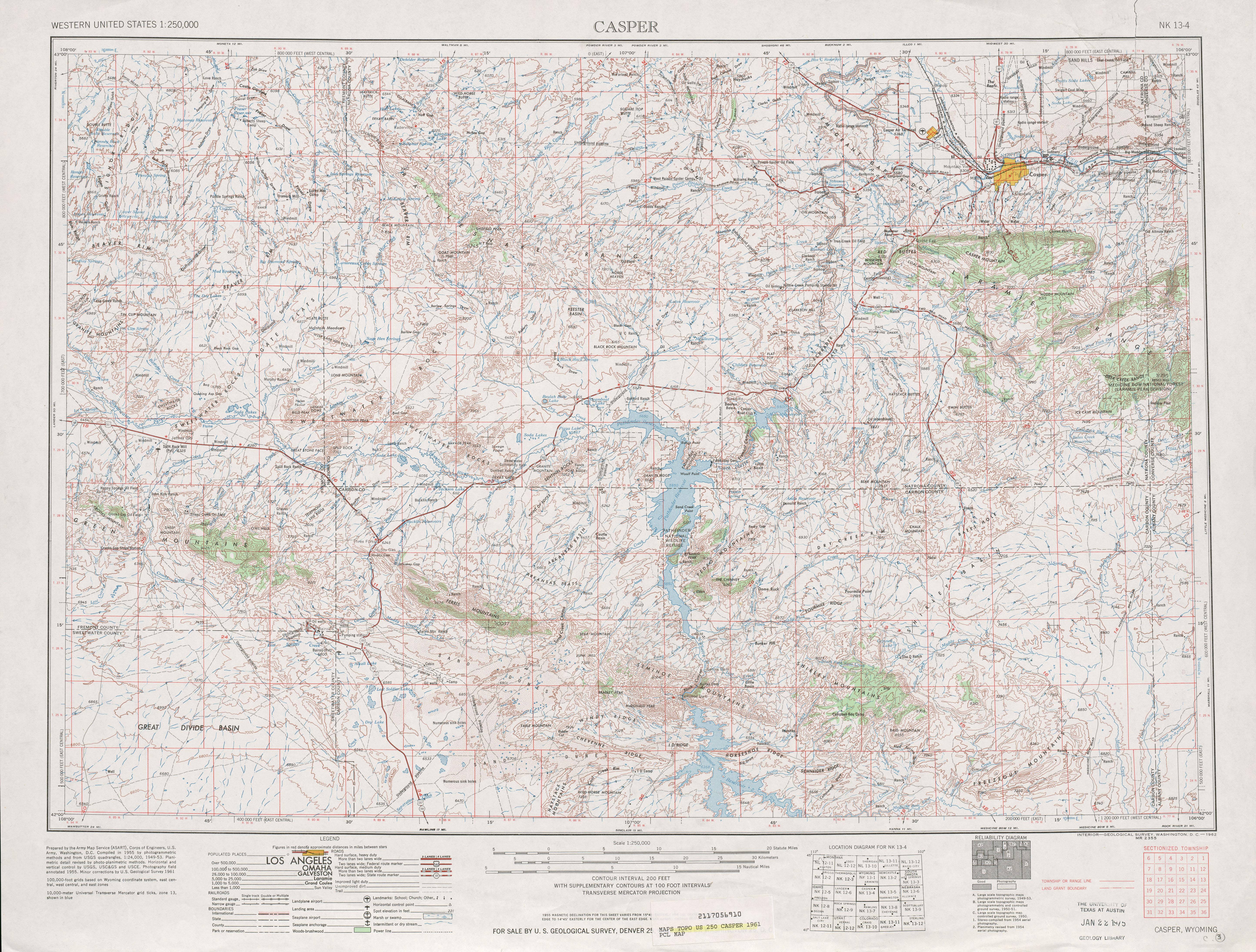 Hoja Casper del Mapa Topográfico de los Estados Unidos 1961