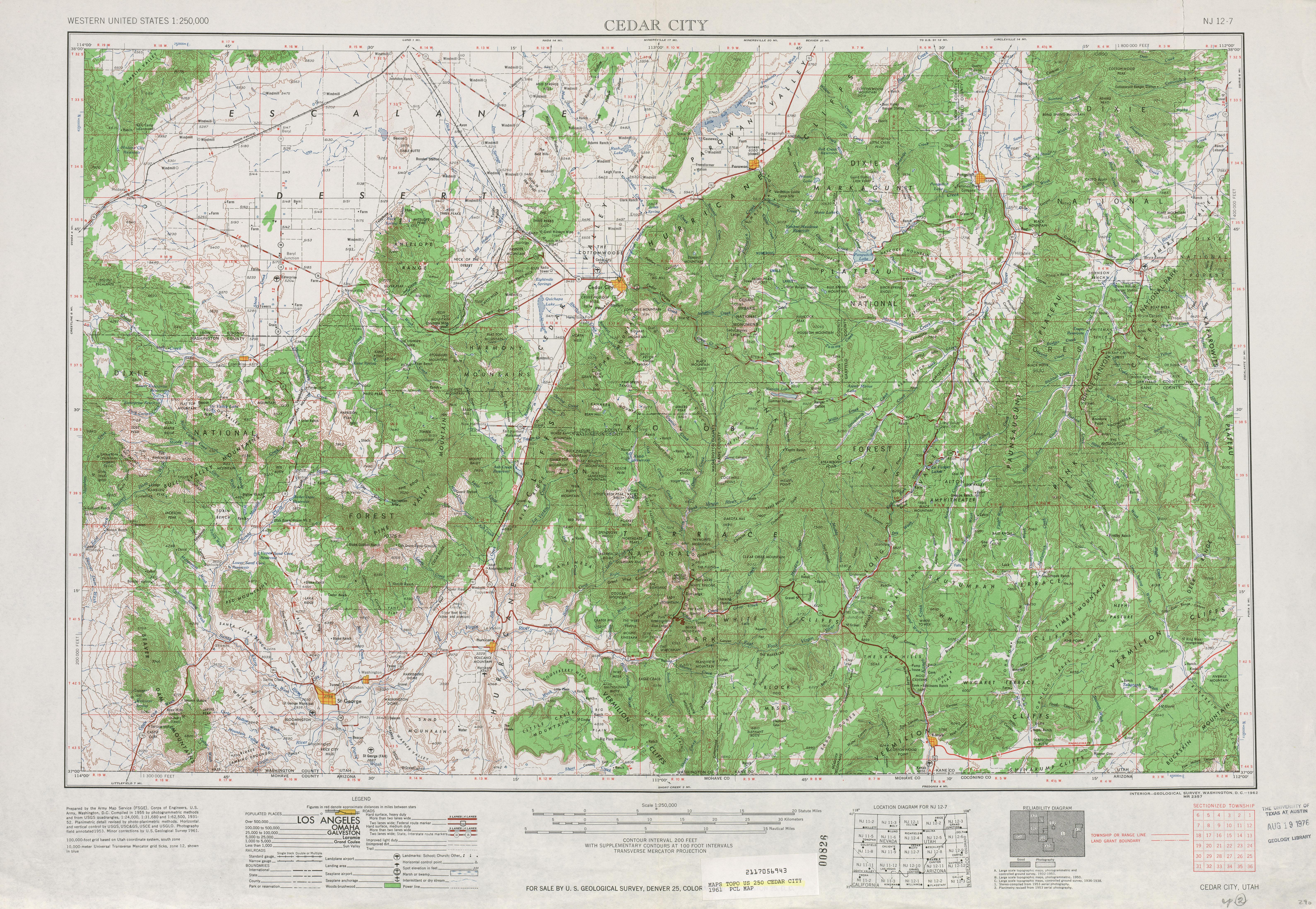 Hoja Cedar City del Mapa Topográfico de los Estados Unidos 1961