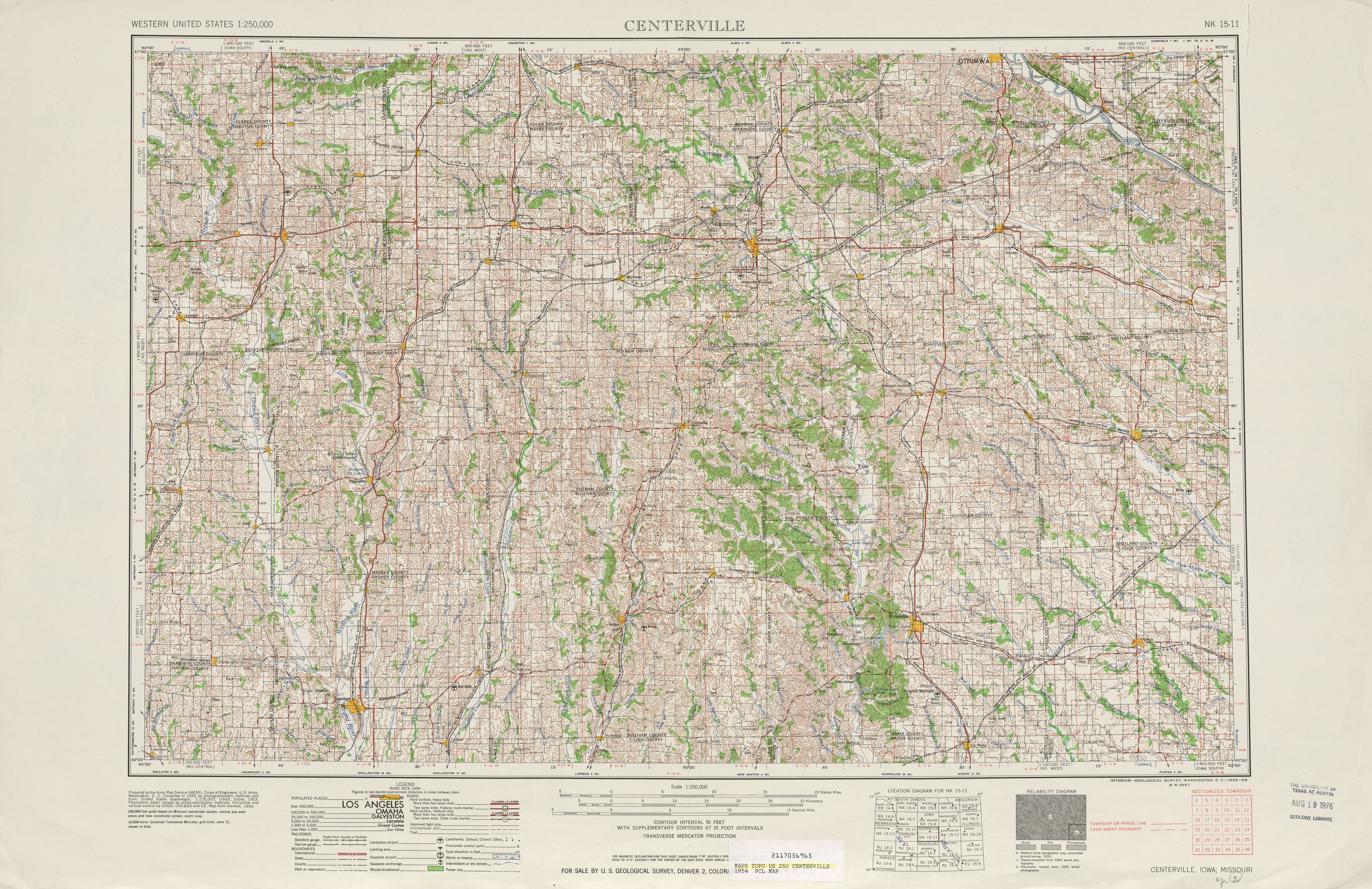 Centerville Topographic Map Sheet, United States 1954