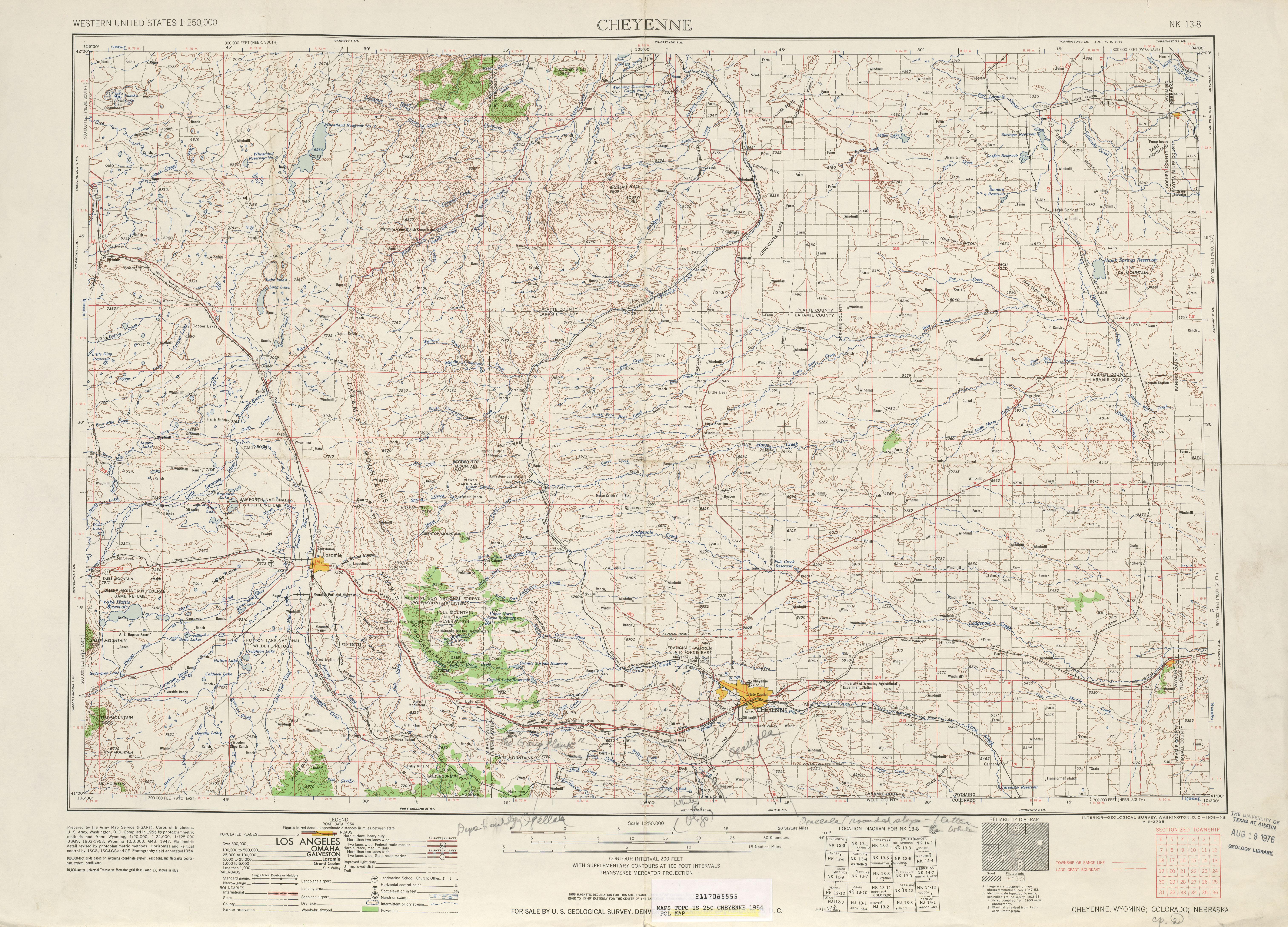 Hoja Cheyenne del Mapa Topográfico de los Estados Unidos 1954