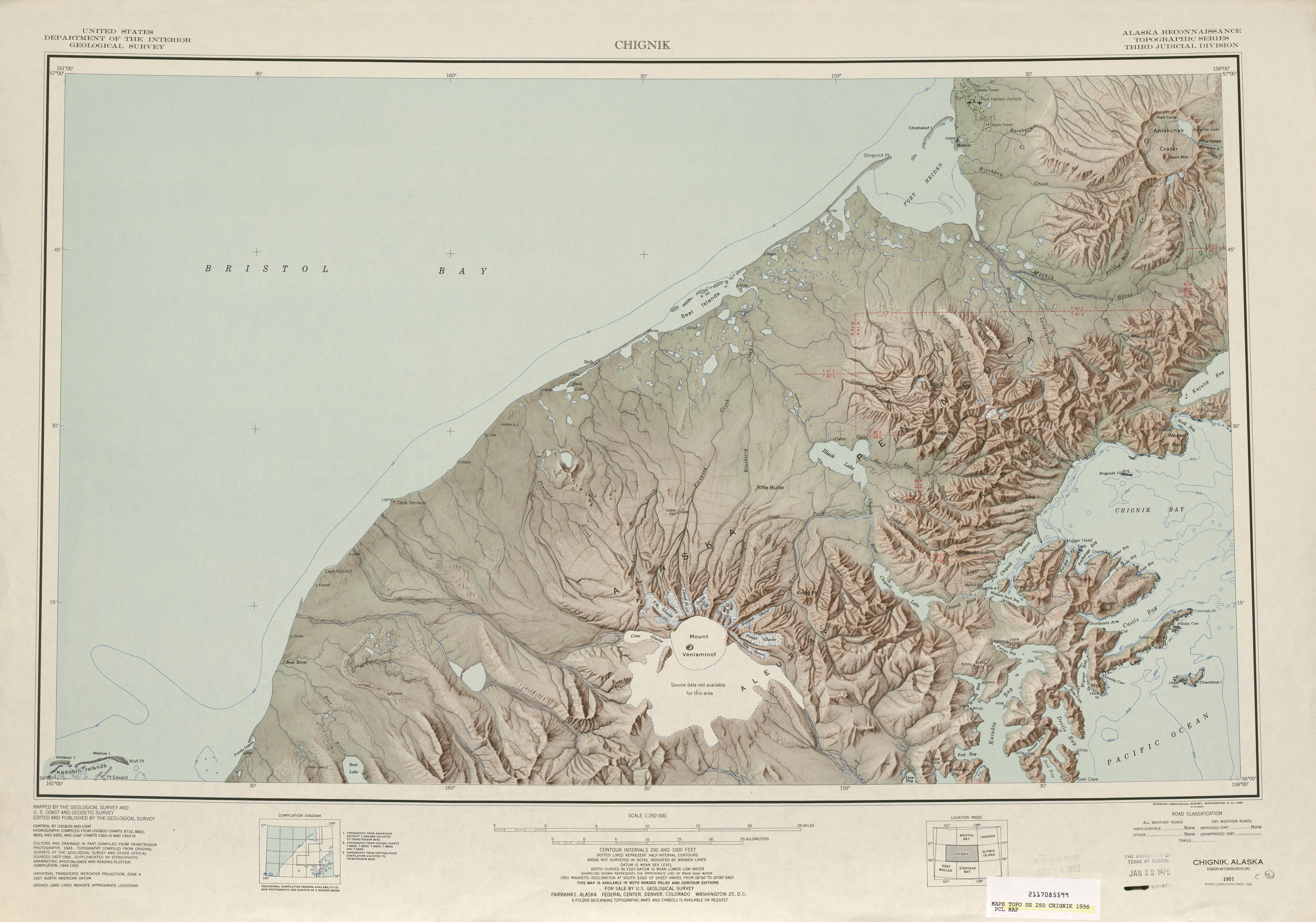 Hoja Chignik del Mapa de Relieve Sombreado de los Estados Unidos 1956