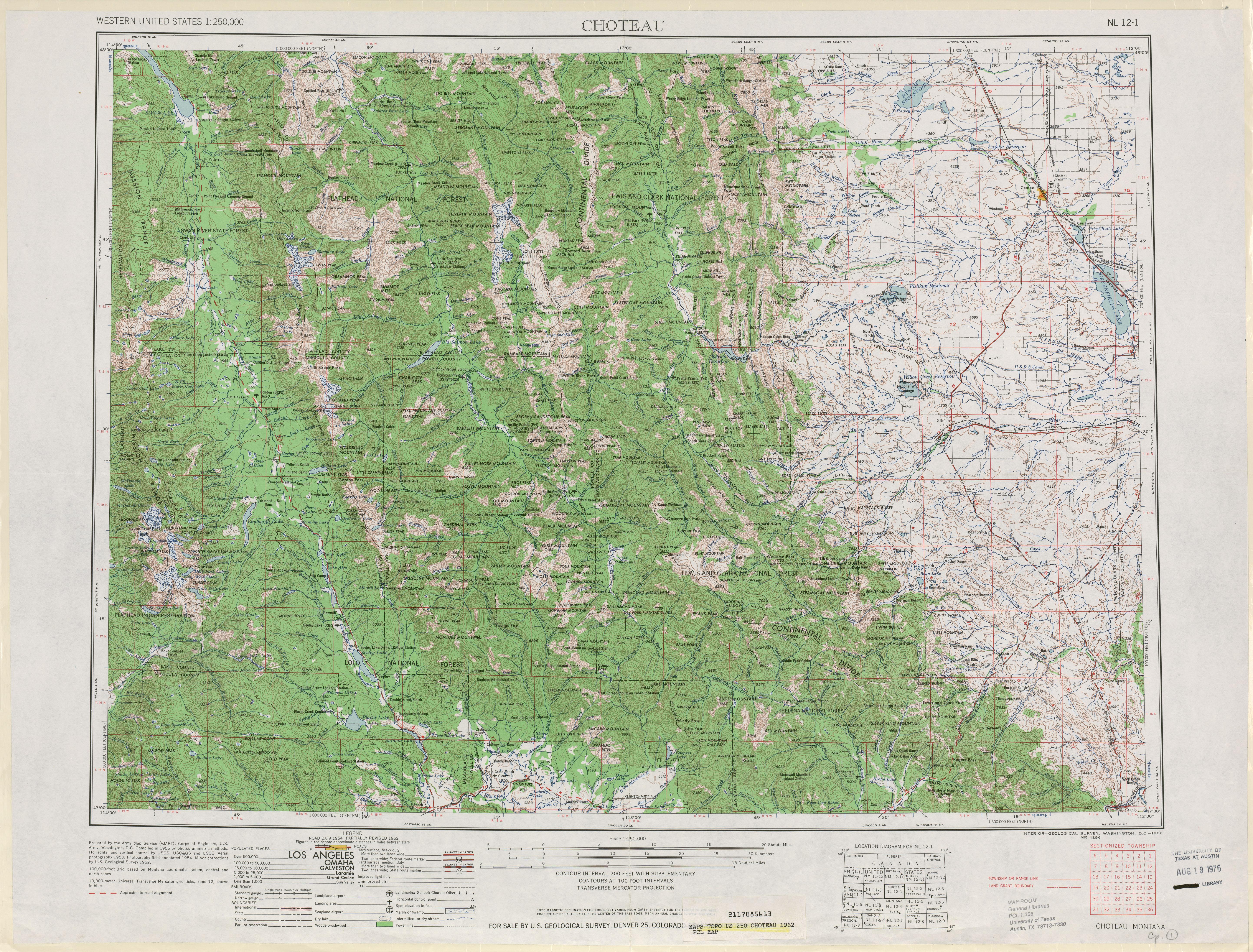 Hoja Choteau del Mapa Topográfico de los Estados Unidos 1962