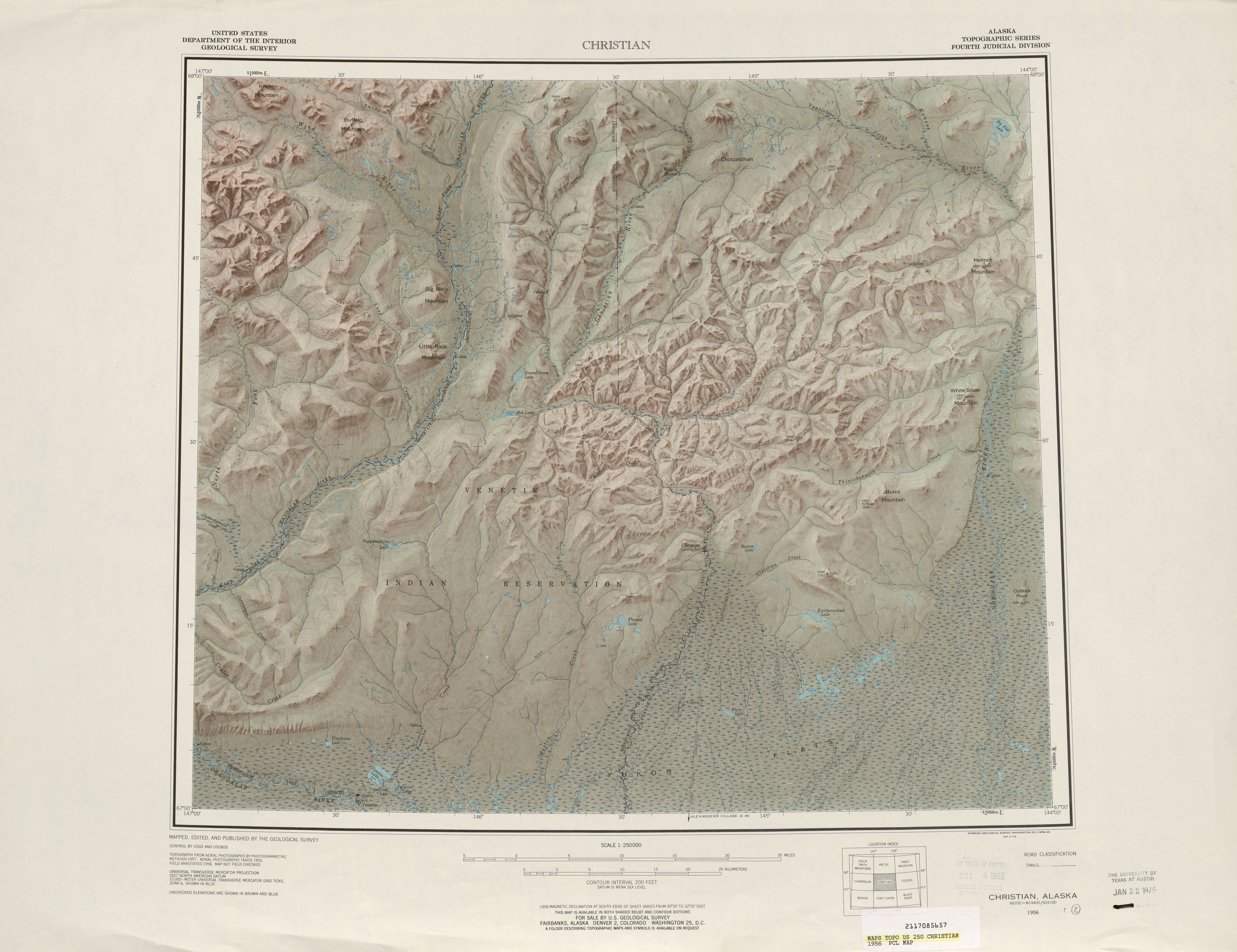 Christian Shaded Relief Map Sheet, United States 1956