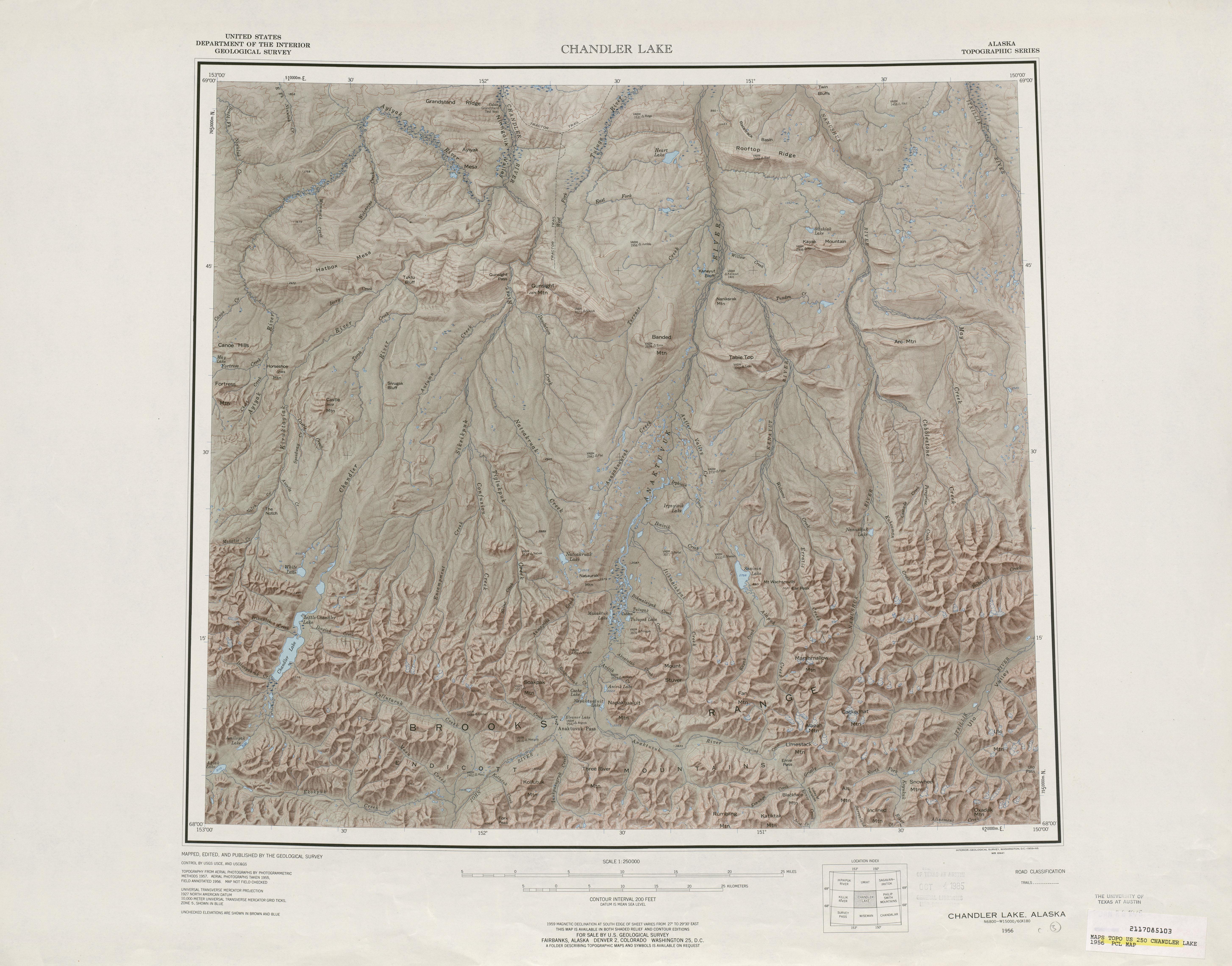 Hoja Chyler Lake del Mapa de Relieve Sombreado de los Estados Unidos 1956