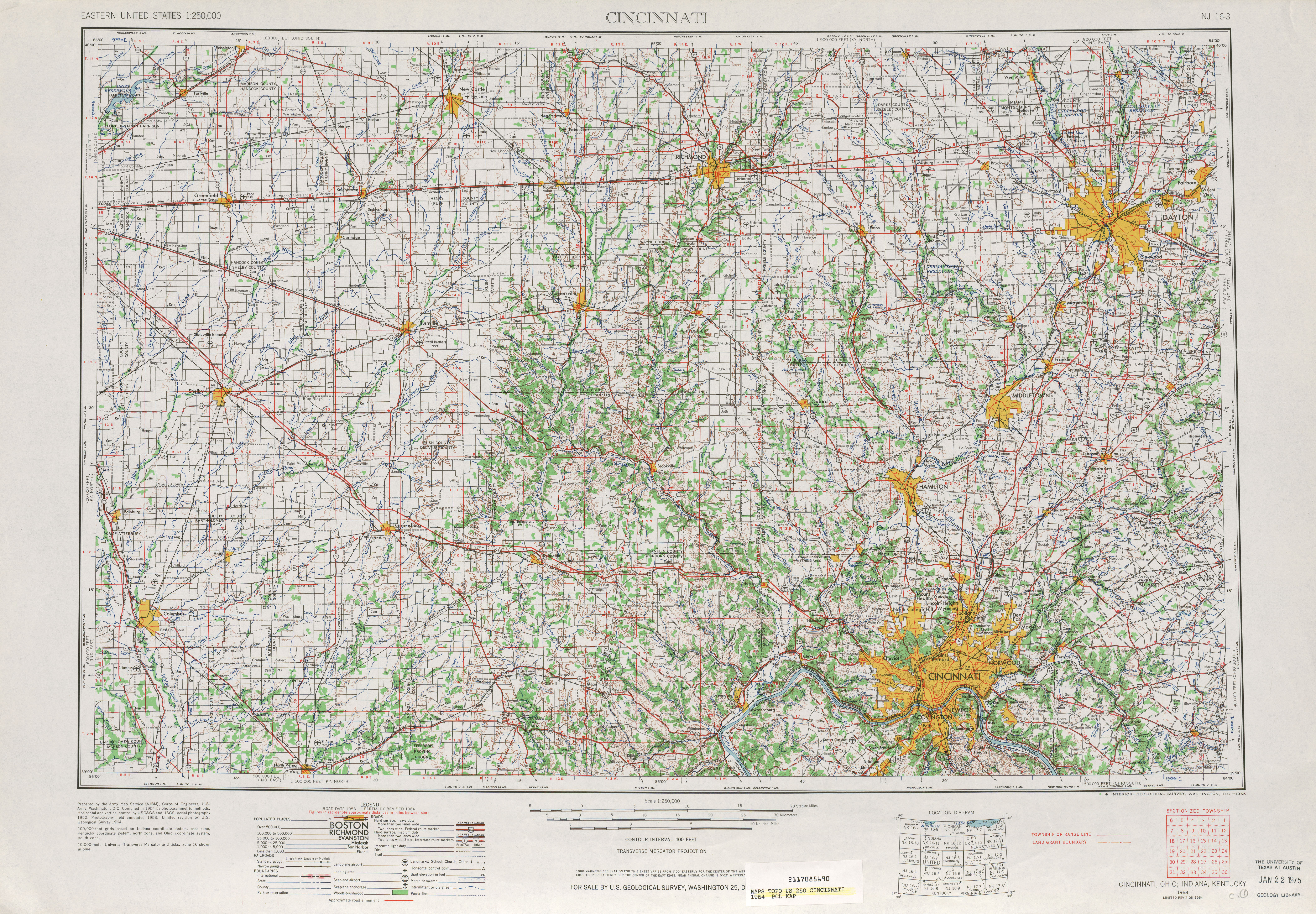 Hoja Cincinnati del Mapa Topográfico de los Estados Unidos 1964