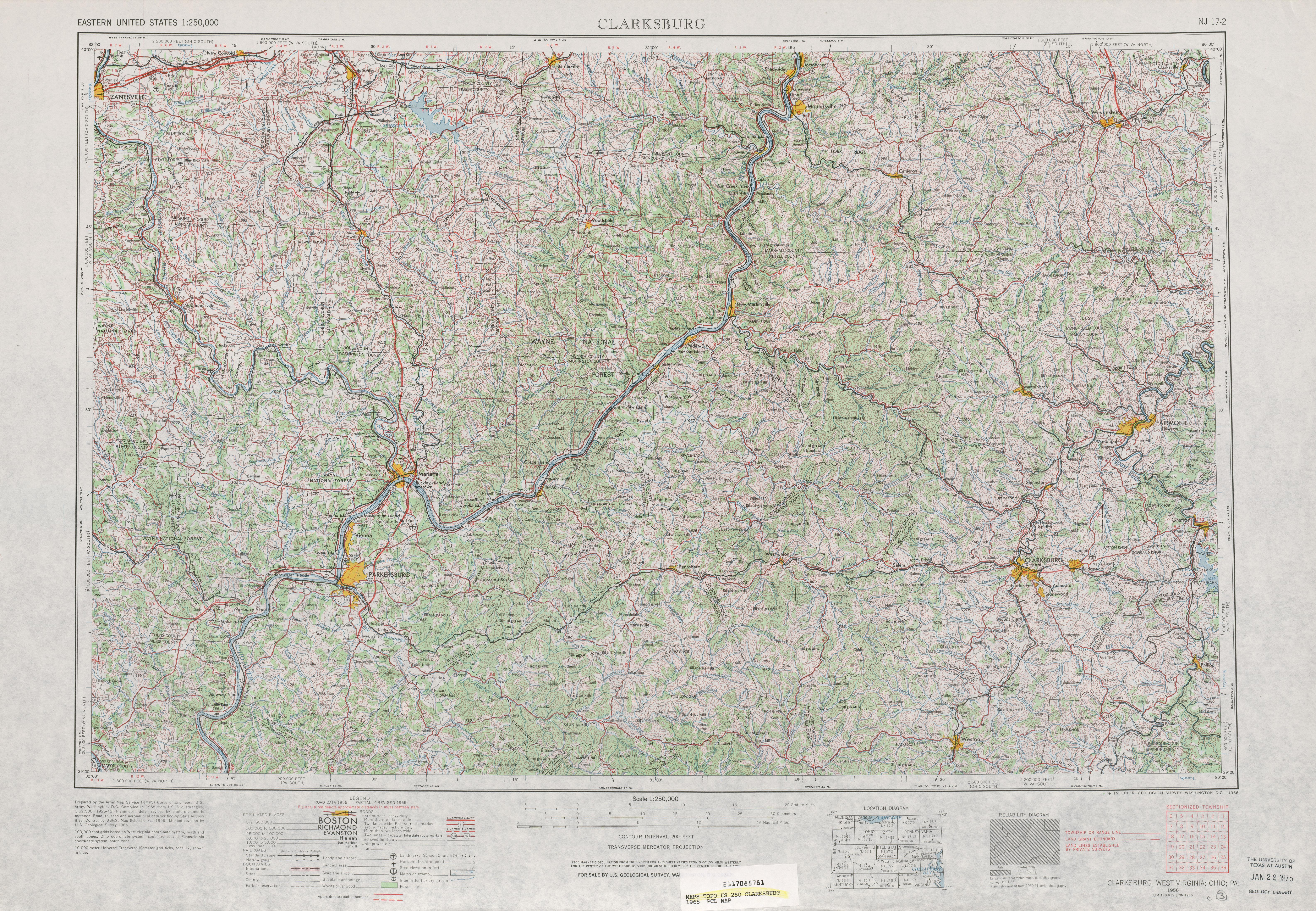Hoja Clarksburg del Mapa Topográfico de los Estados Unidos 1965