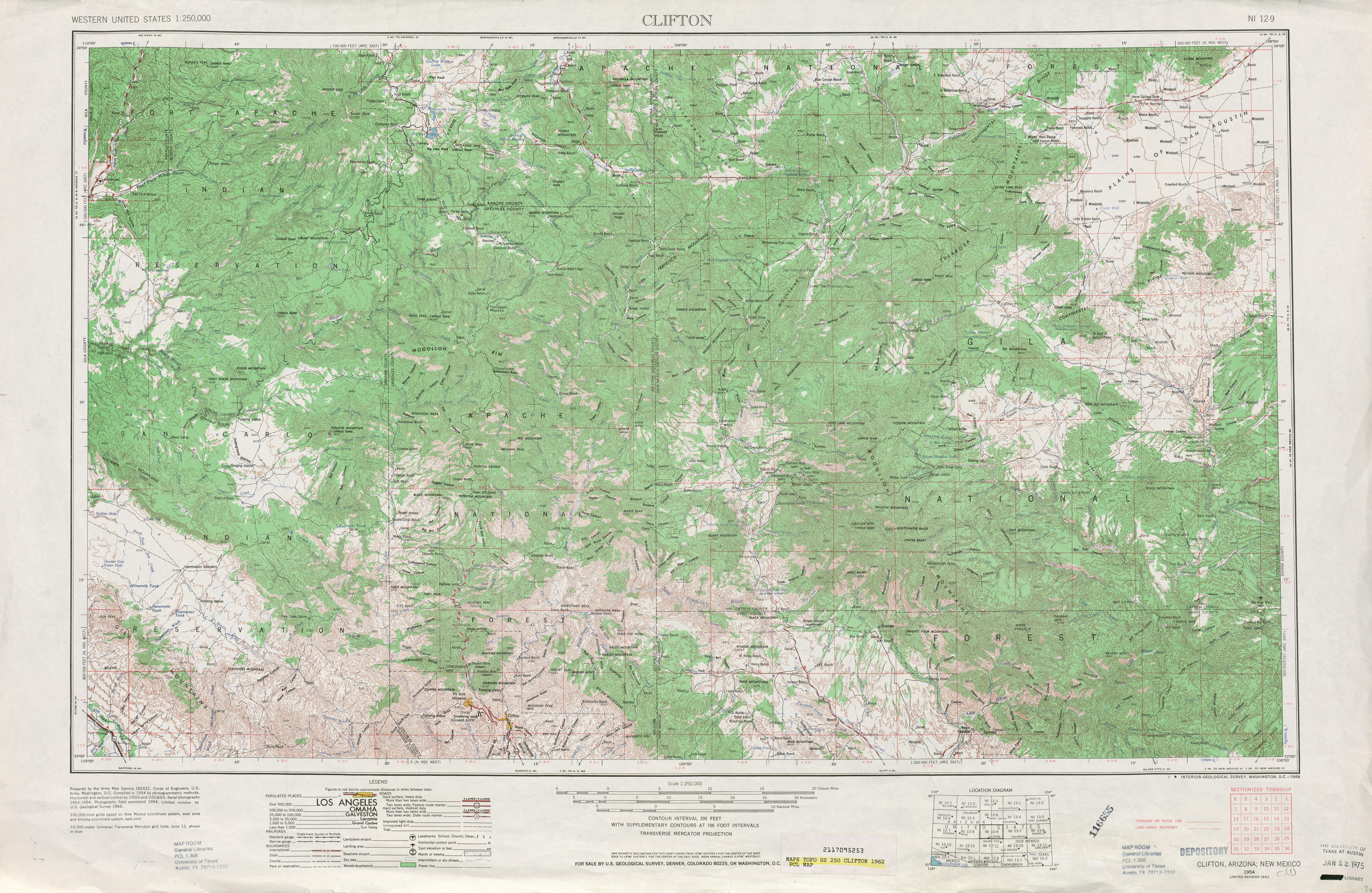 Hoja Clifton del Mapa Topográfico de los Estados Unidos 1962