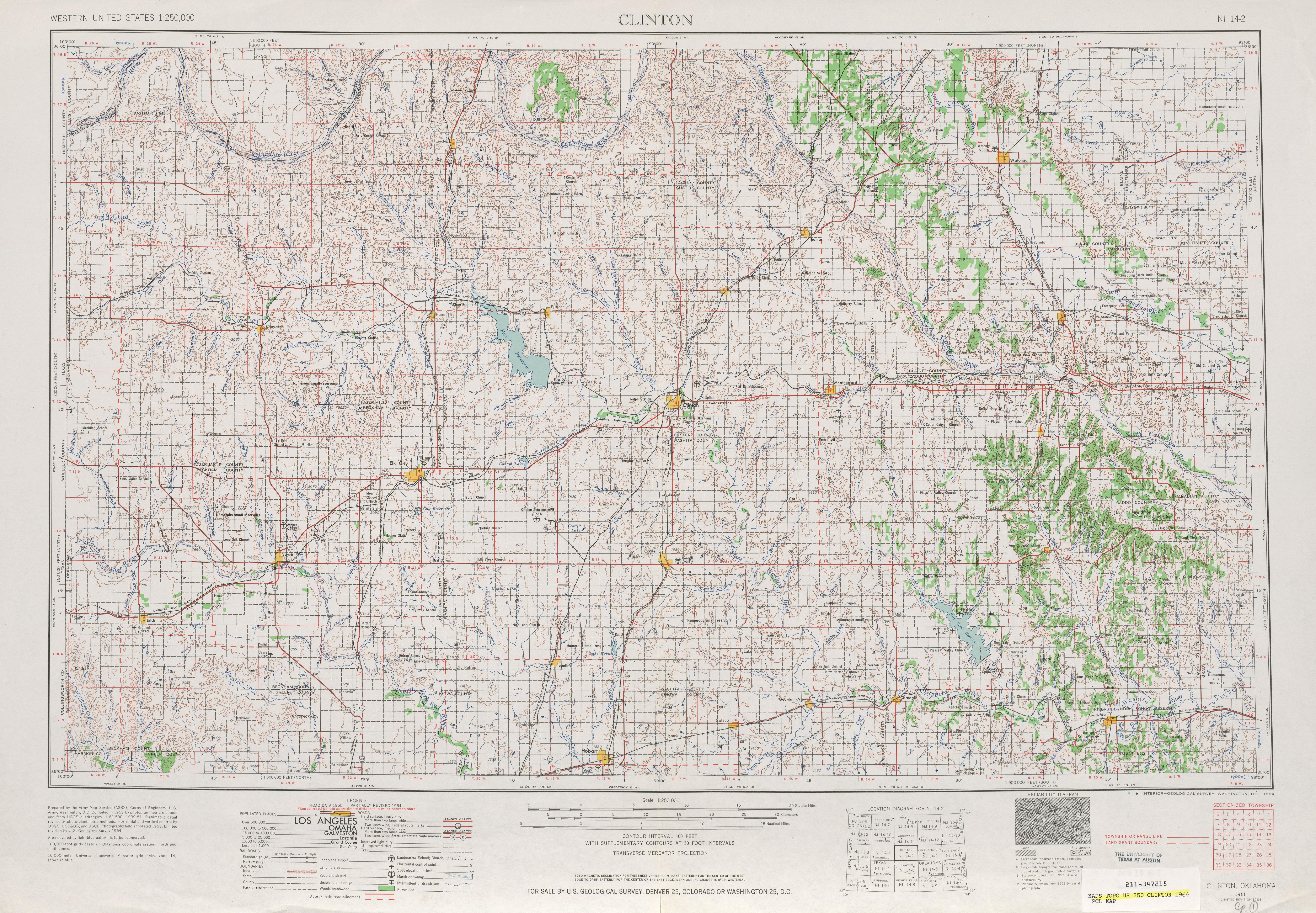 Hoja Clinton del Mapa Topográfico de los Estados Unidos 1964