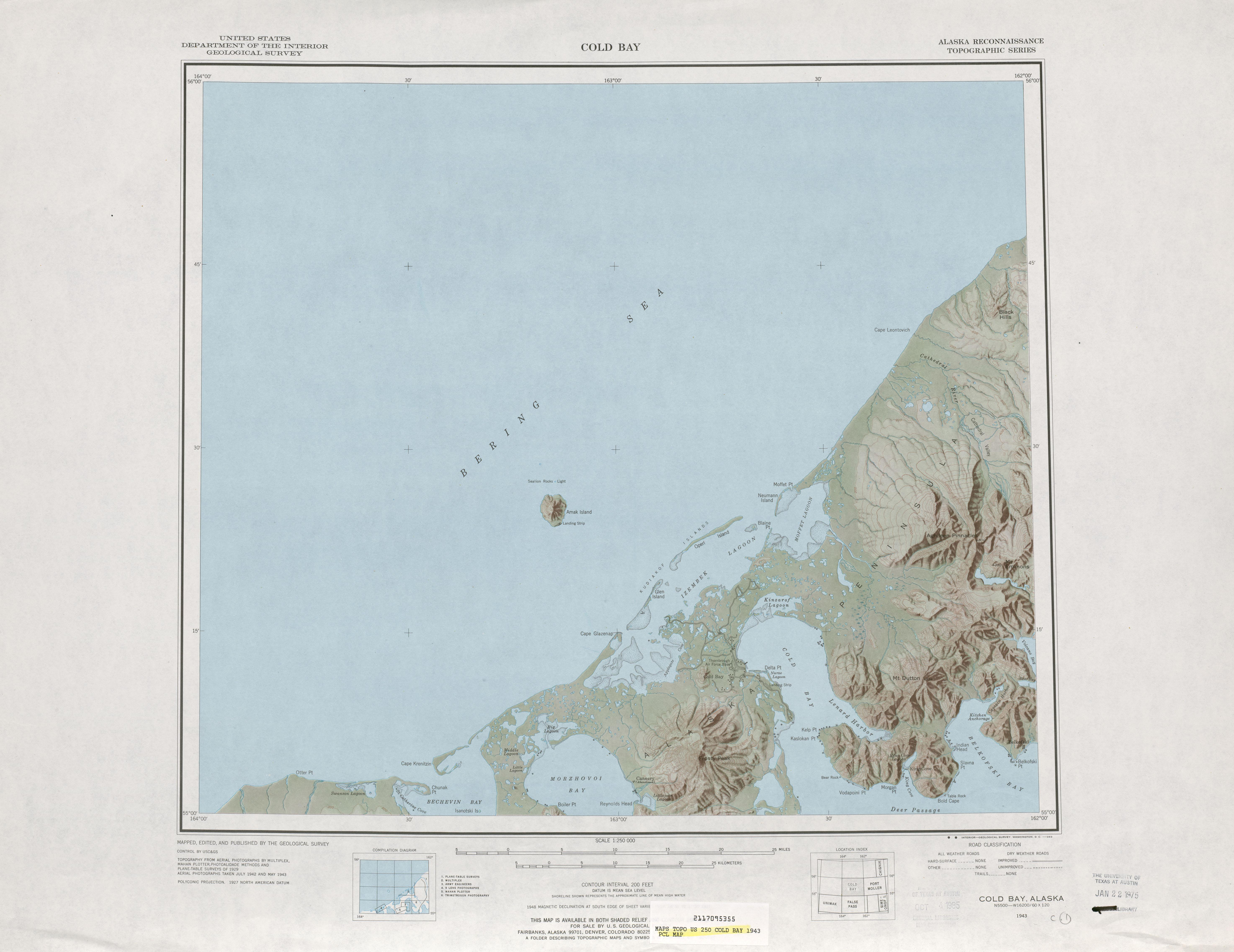 Hoja Cold Bay del Mapa de Relieve Sombreado de los Estados Unidos 1943