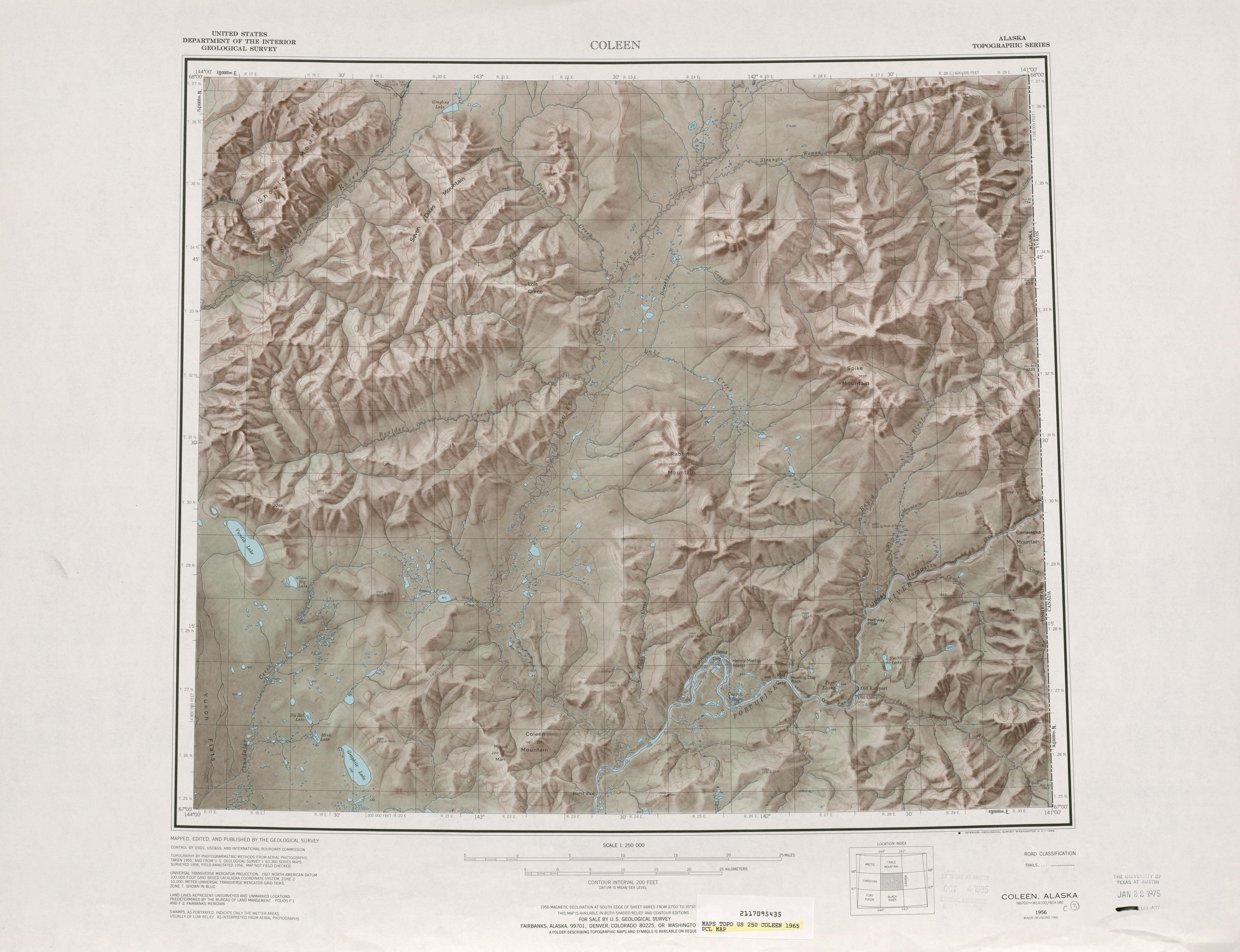 Hoja Coleen del Mapa de Relieve Sombreado de los Estados Unidos 1965
