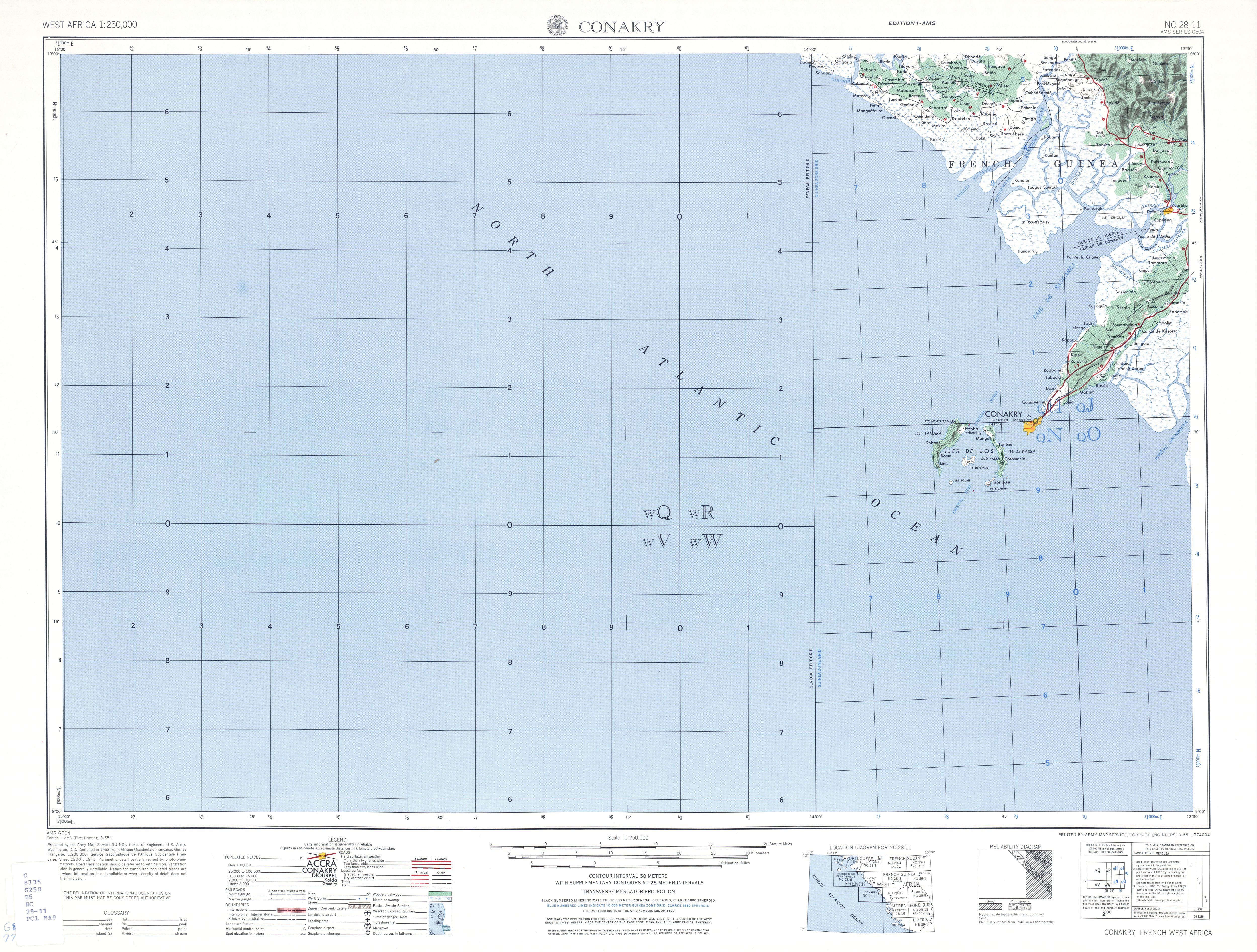 Hoja Conakry del Mapa Topográfico de África Occidental 1955