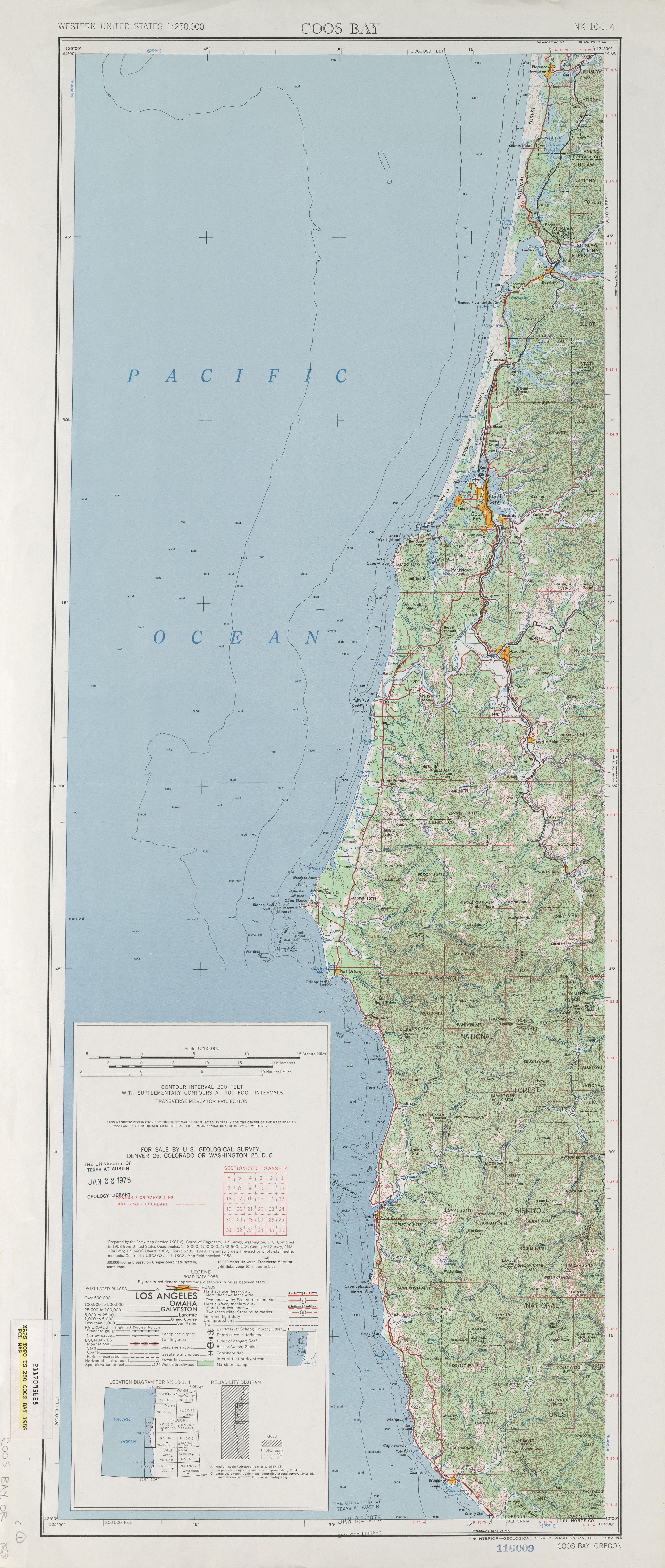 Hoja Coos Bay del Mapa Topográfico de los Estados Unidos 1958