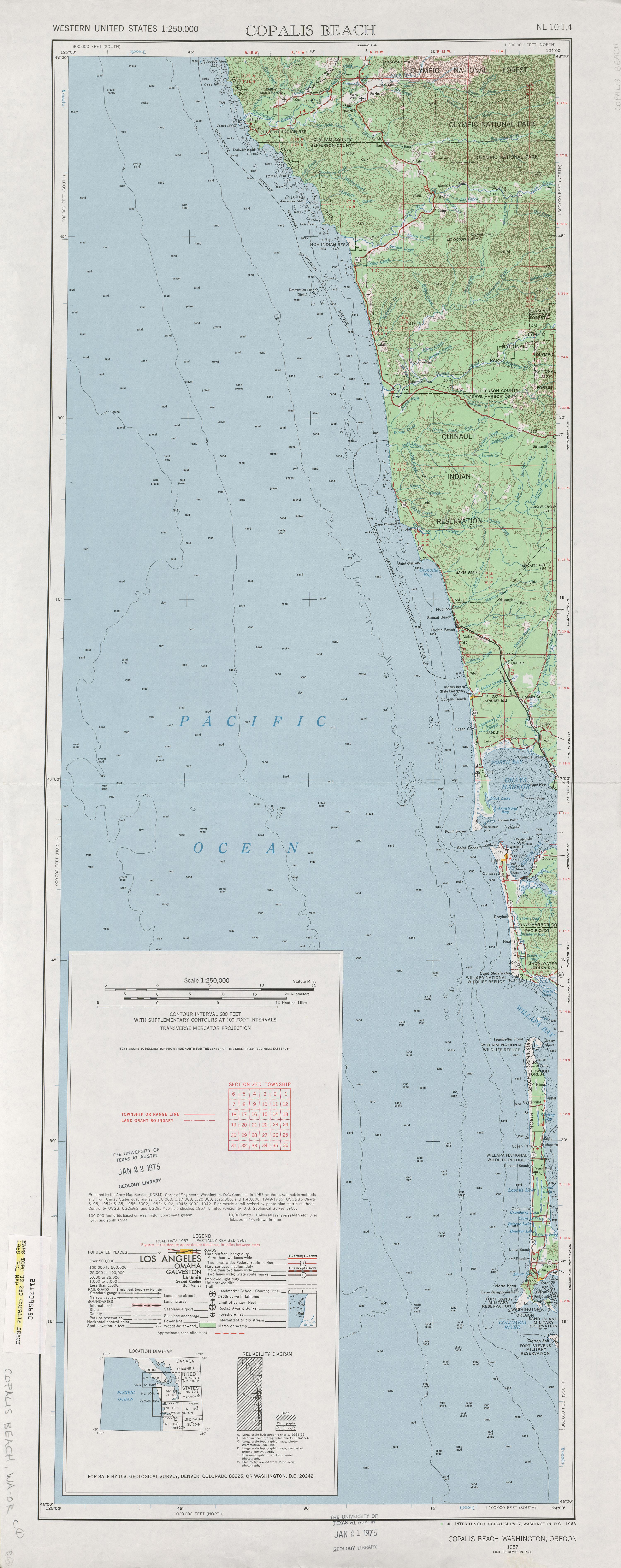 Hoja Copalis Beach del Mapa Topográfico de los Estados Unidos 1968