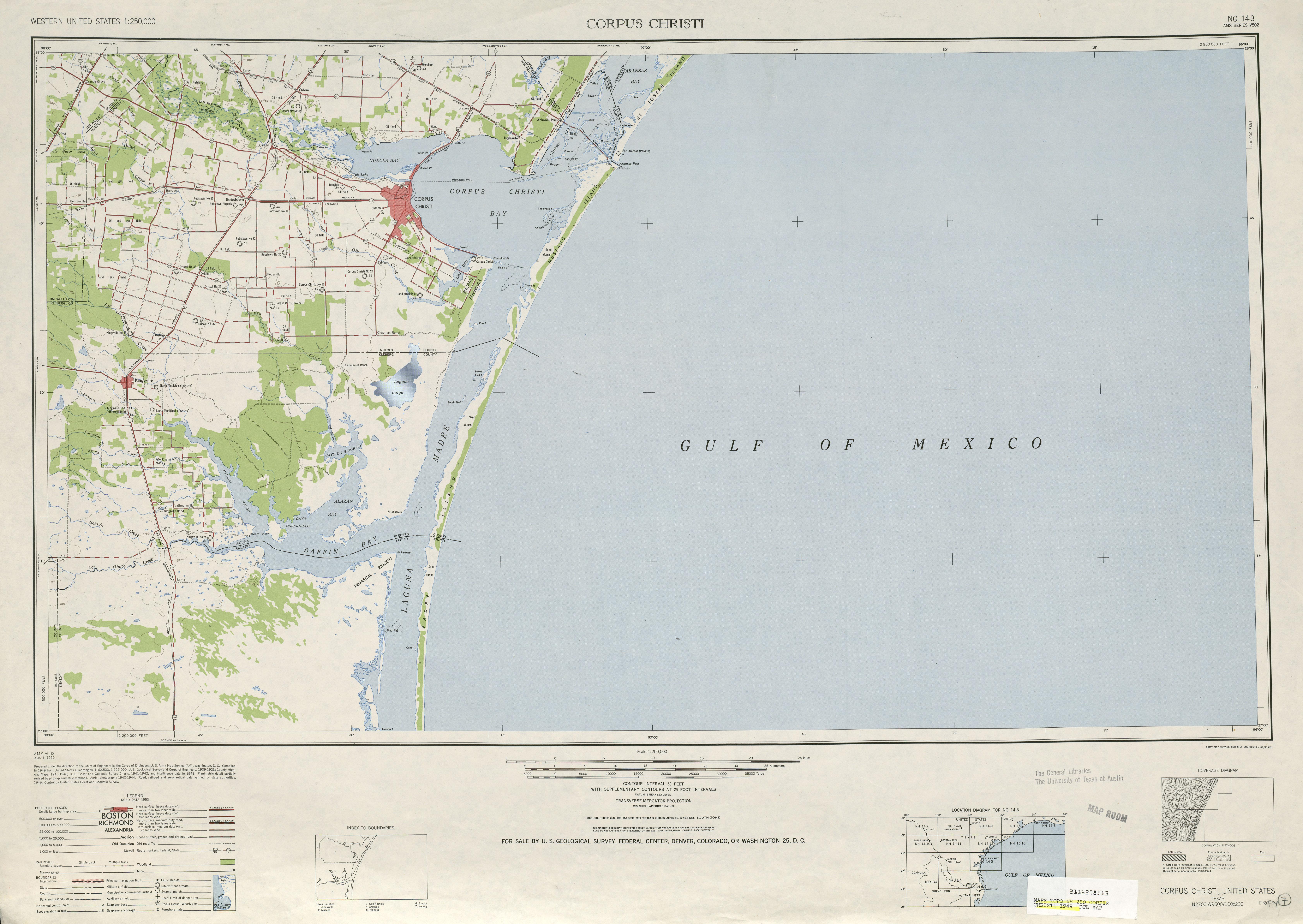 Corpus Christi Topographic Map Sheet, United States 1949