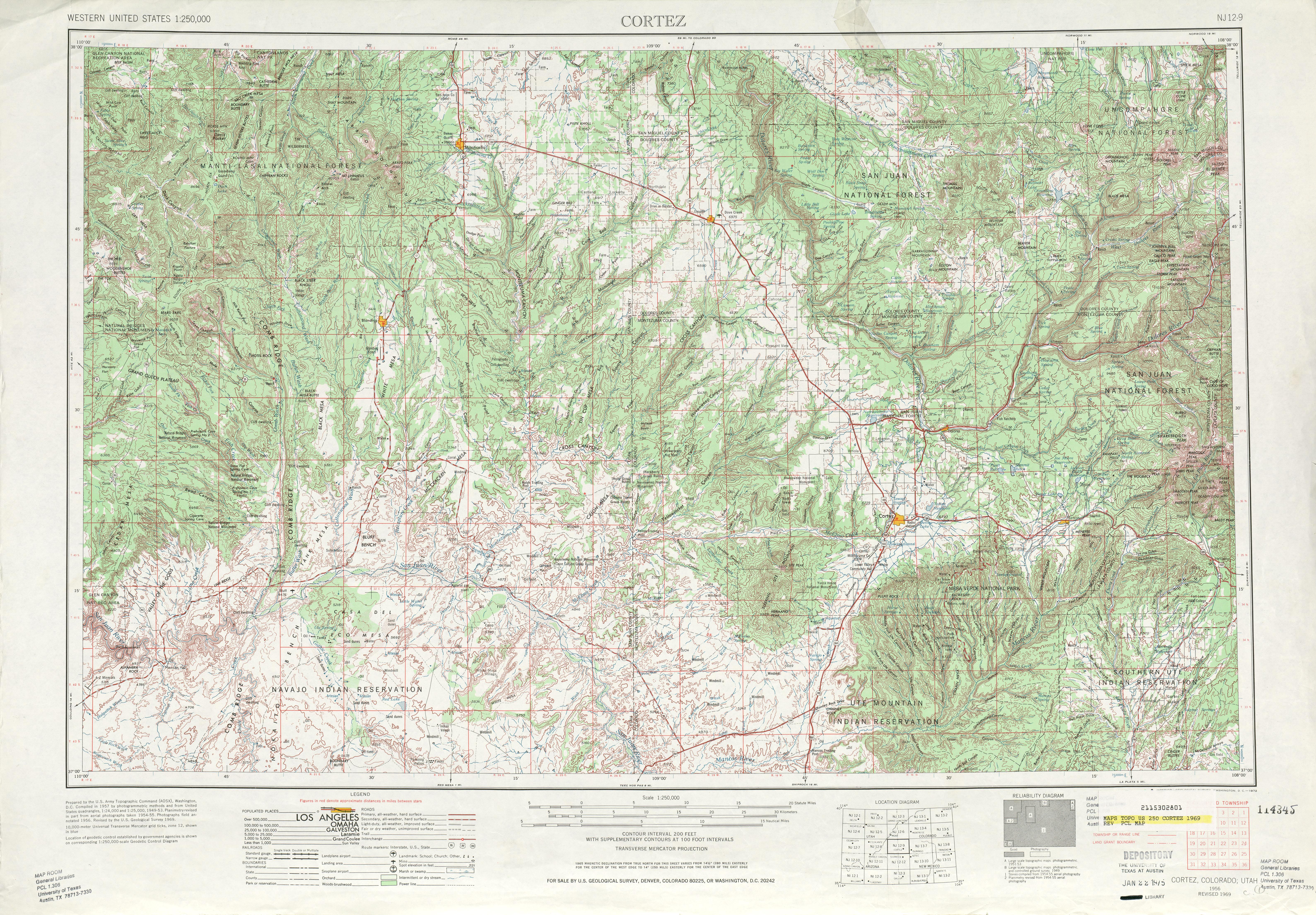 Hoja Cortez del Mapa Topográfico de los Estados Unidos 1969