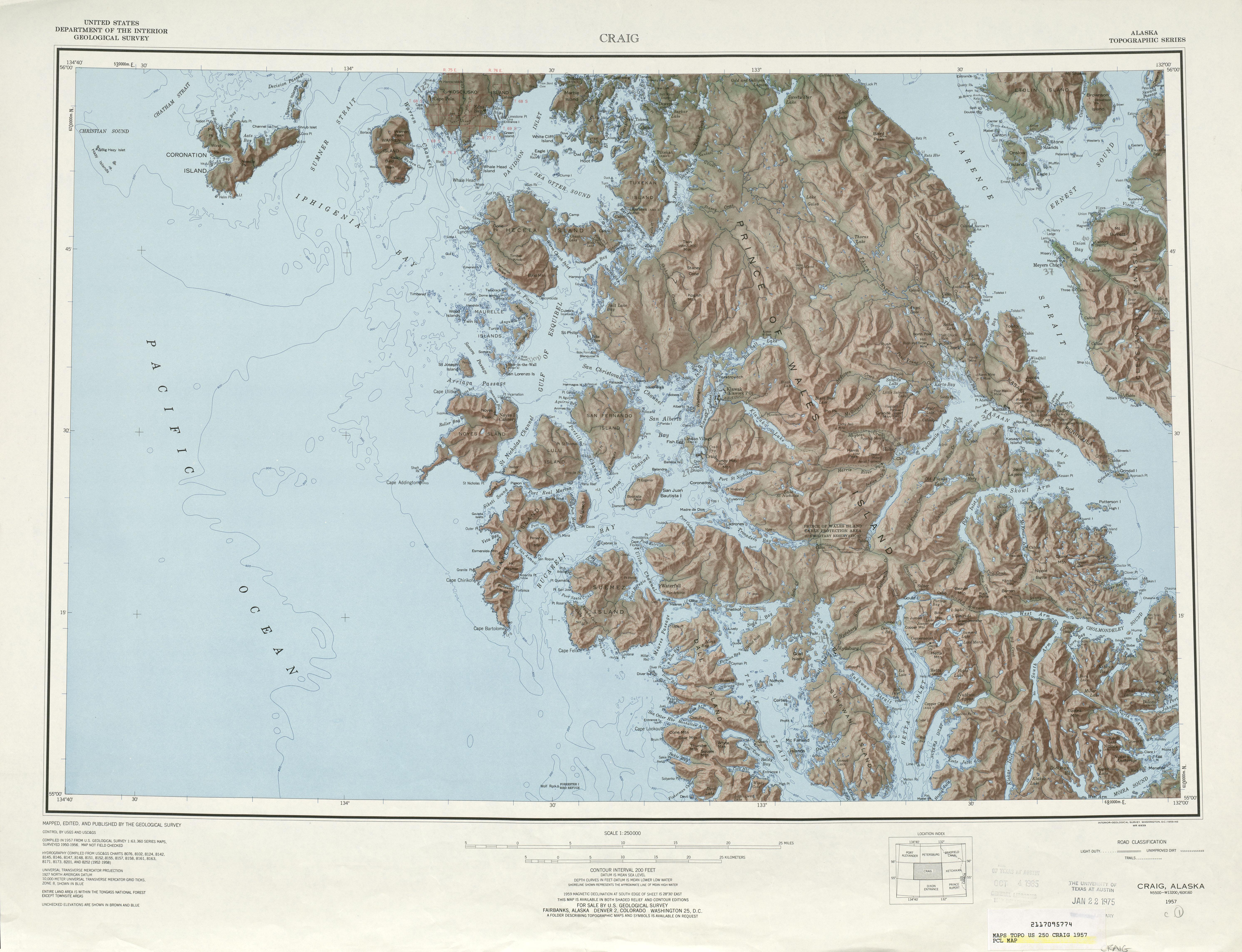Hoja Craig  del Mapa Topográfico de los Estados Unidos 1957
