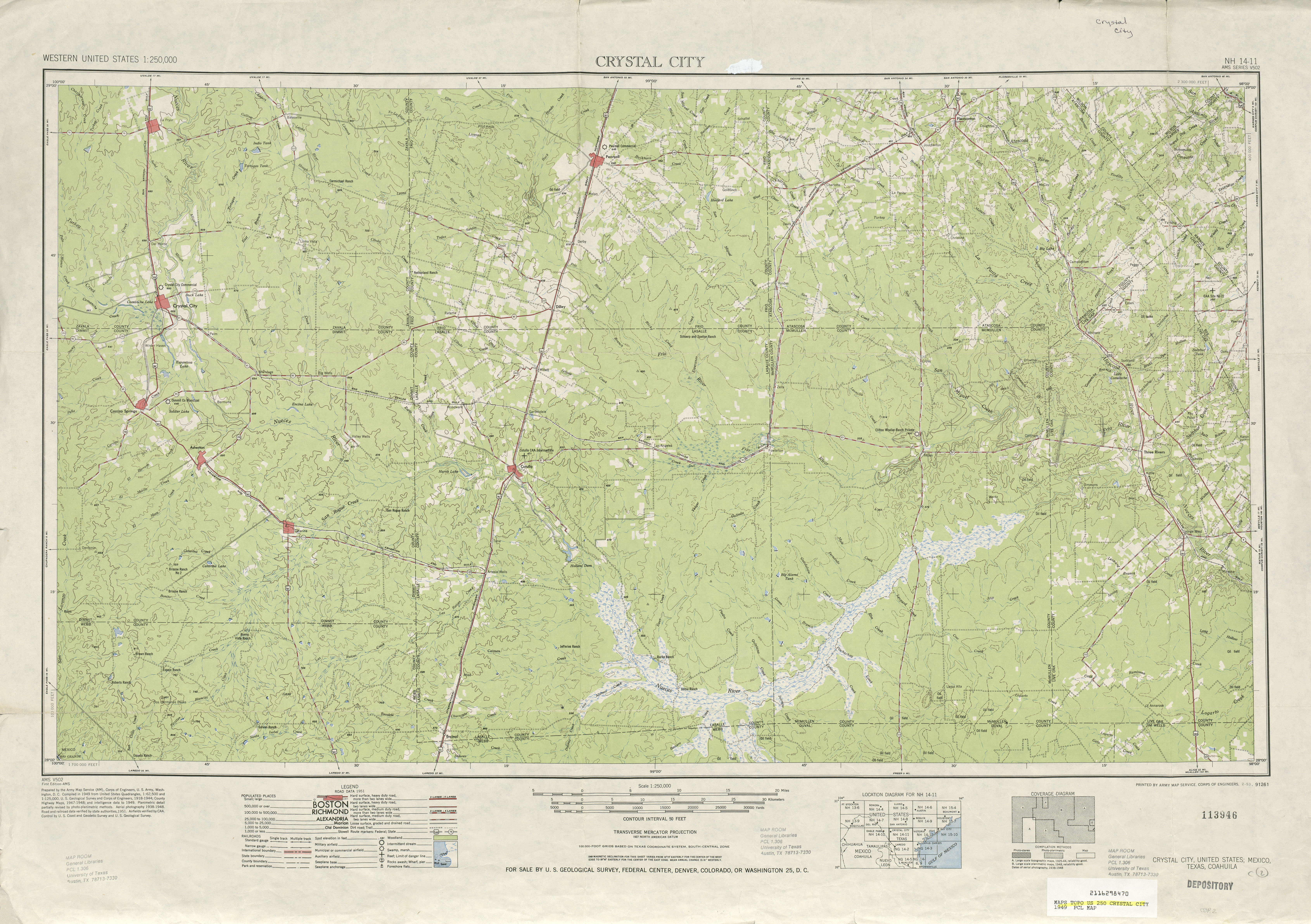 Crystal City Topographic Map Sheet, United States 1949