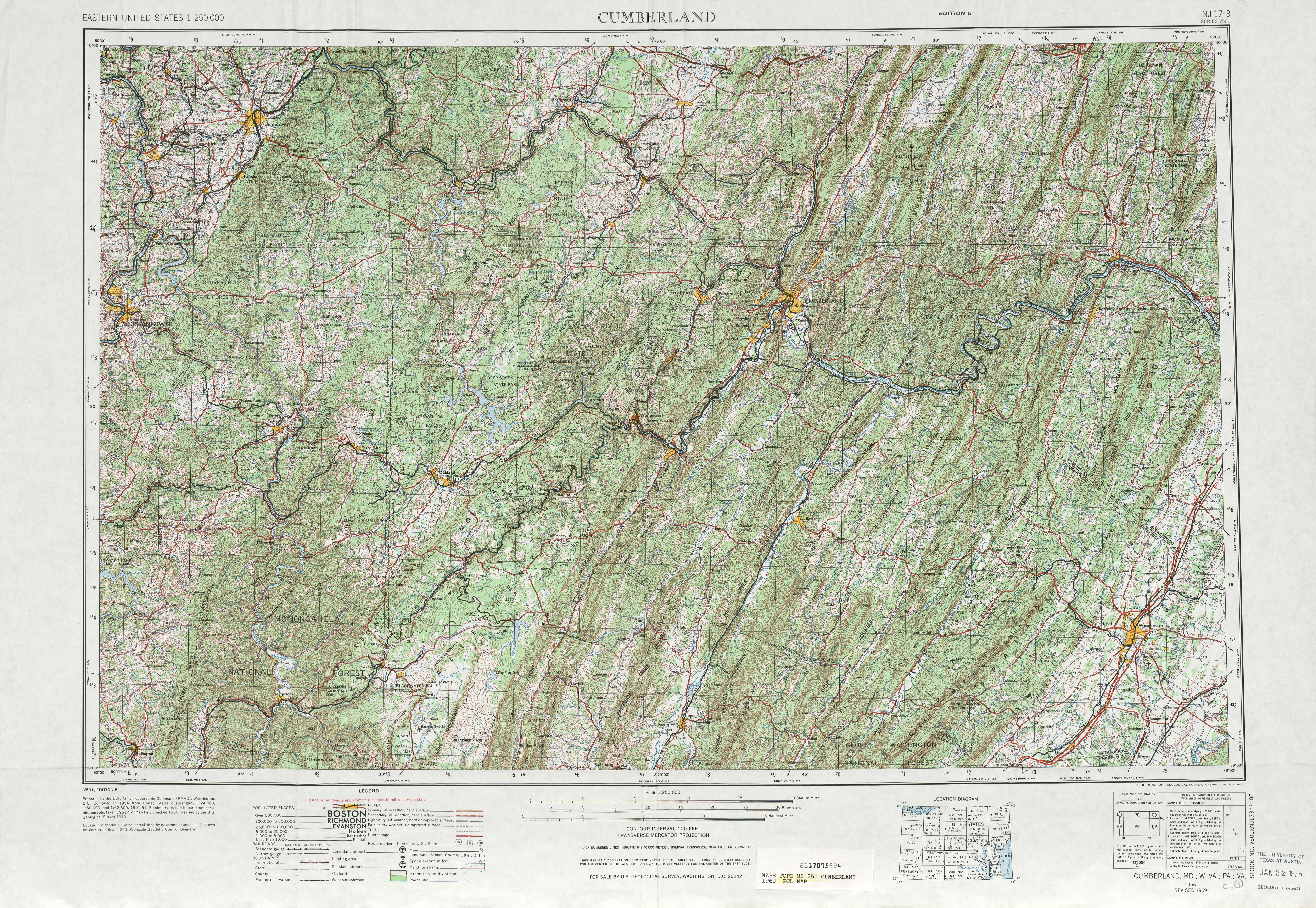 Hoja Cumberland del Mapa Topográfico de los Estados Unidos 1969