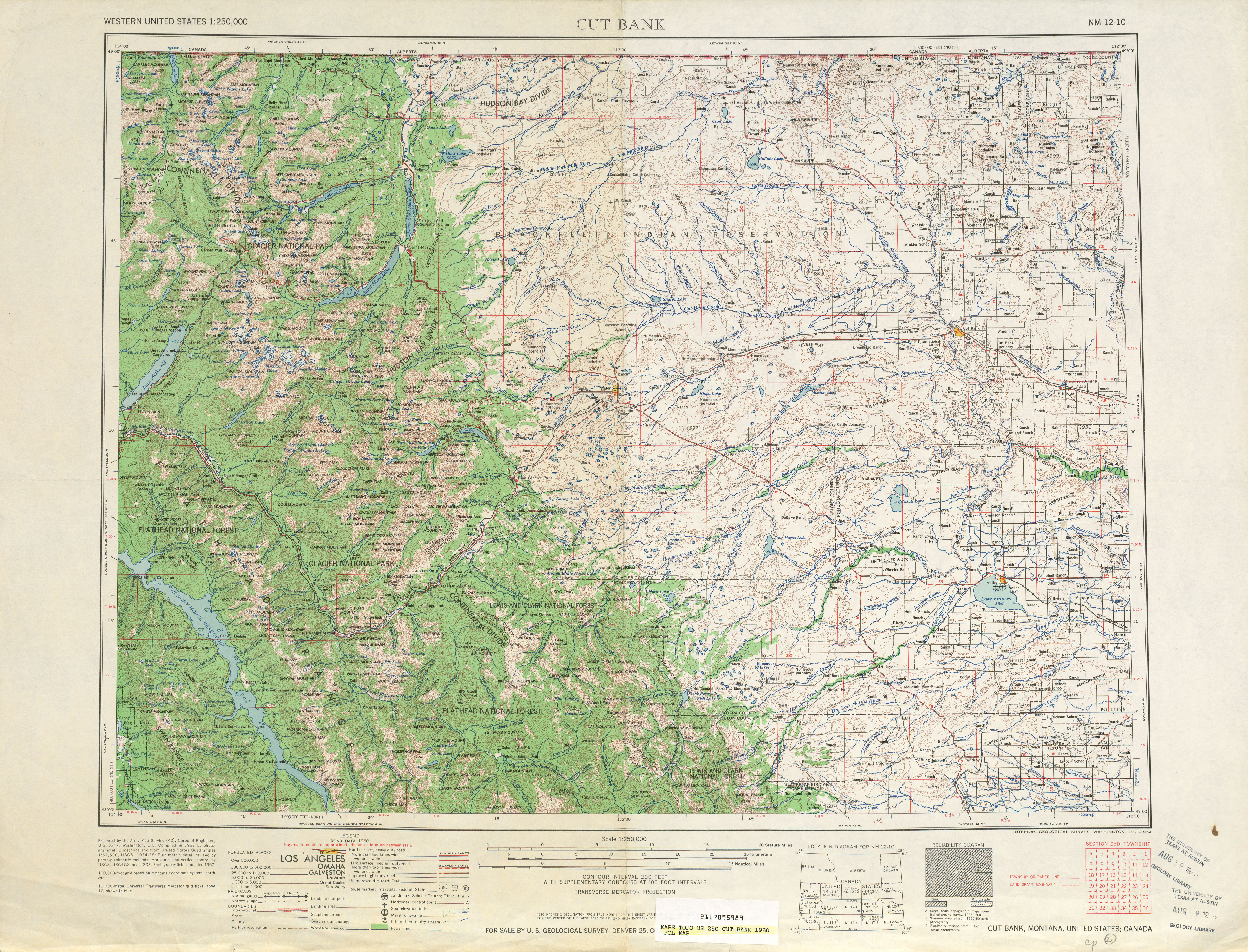 Cut Bank Topographic Map Sheet, United States 1960