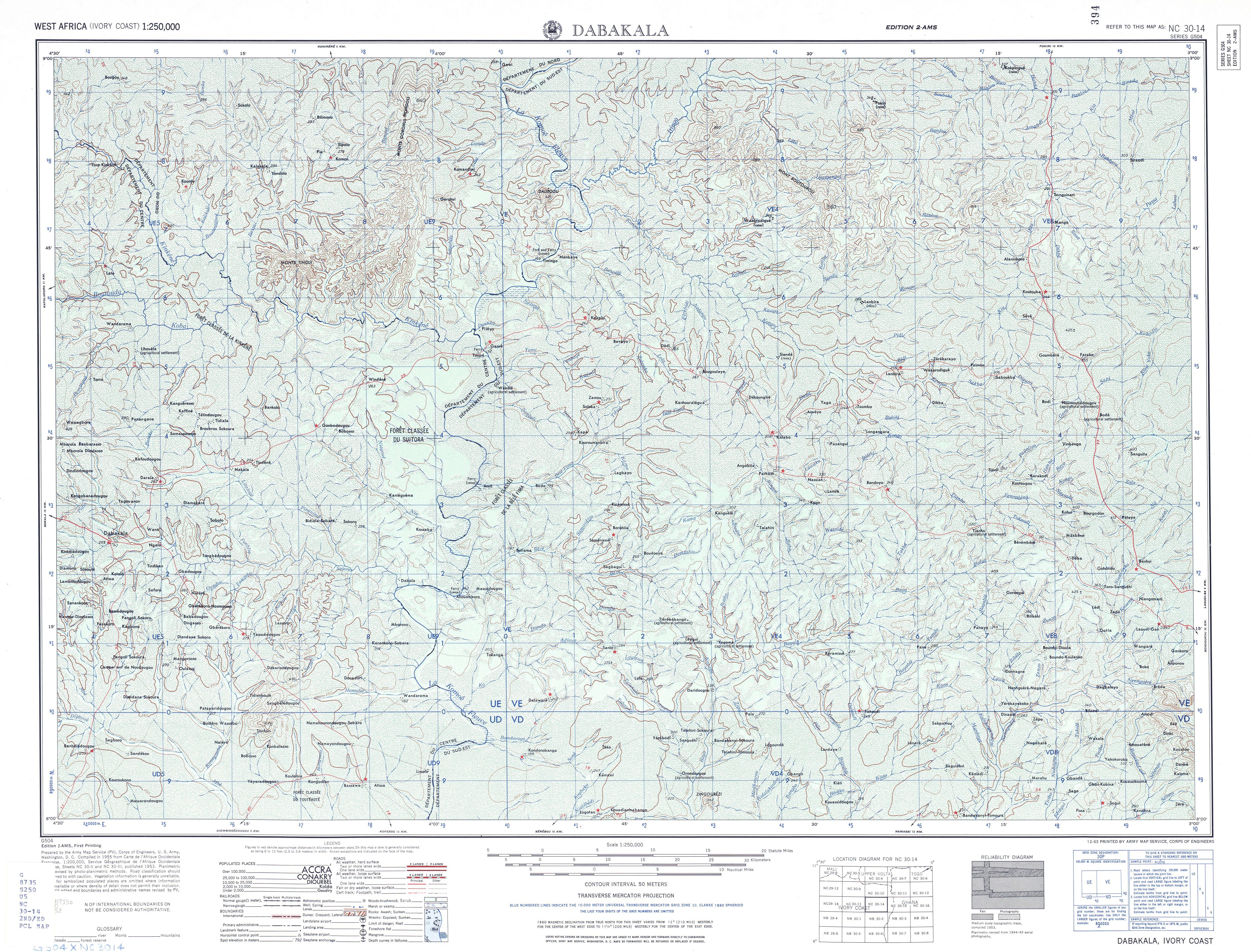 Hoja Dabakala del Mapa Topográfico de África Occidental 1955