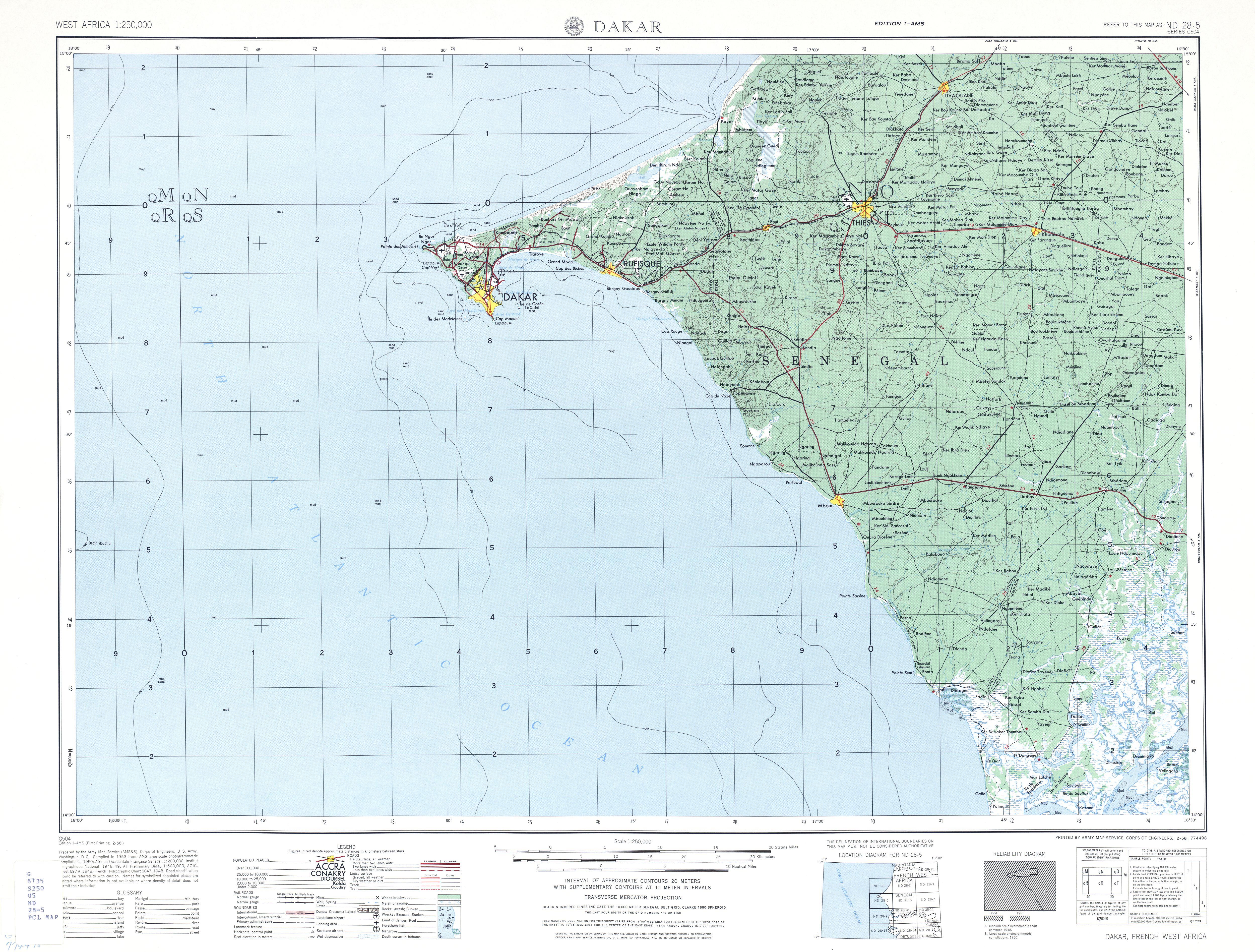 Hoja Dakar del Mapa Topográfico de Senegal 1955