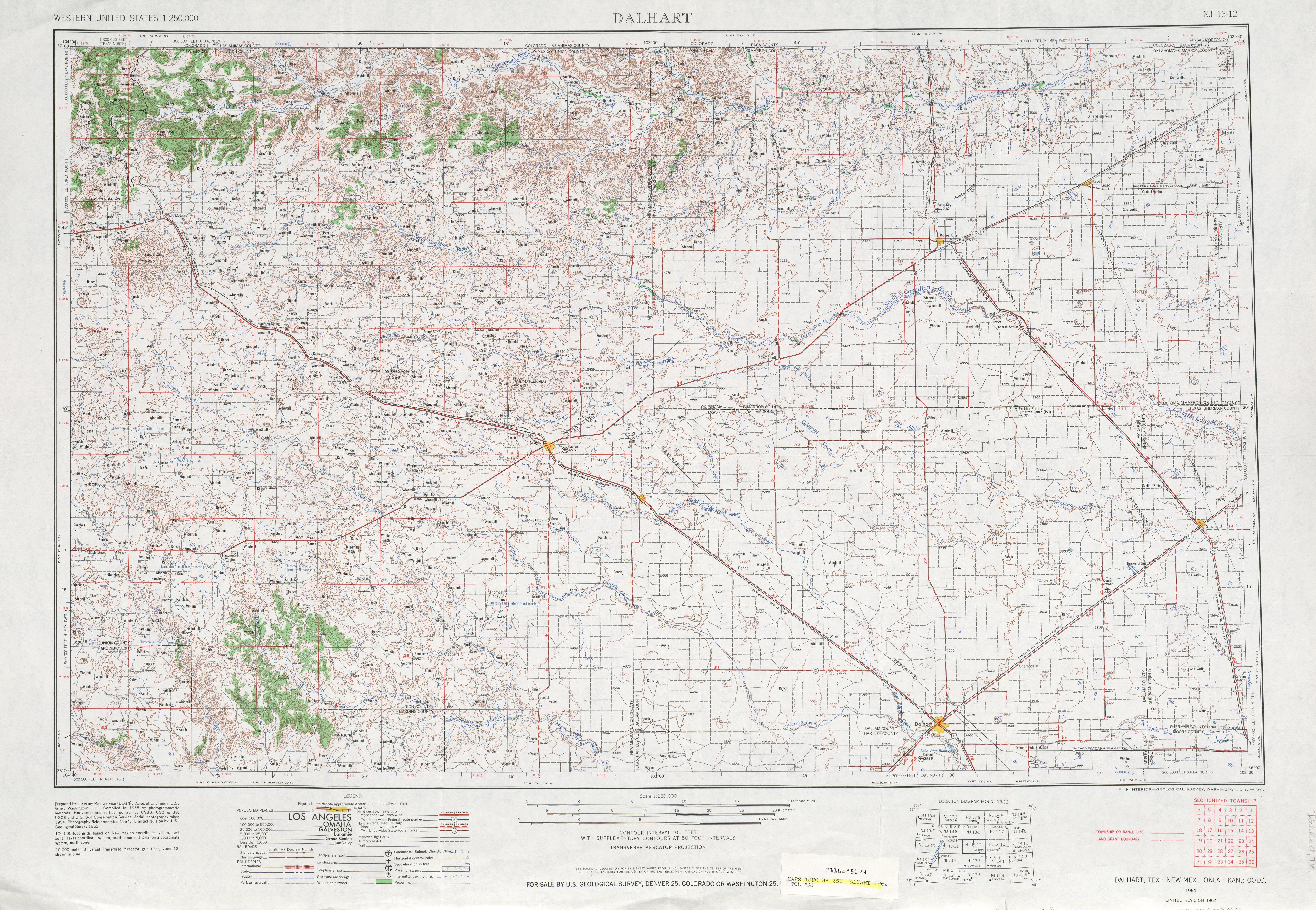 Hoja Dalhart del Mapa Topográfico de los Estados Unidos 1962