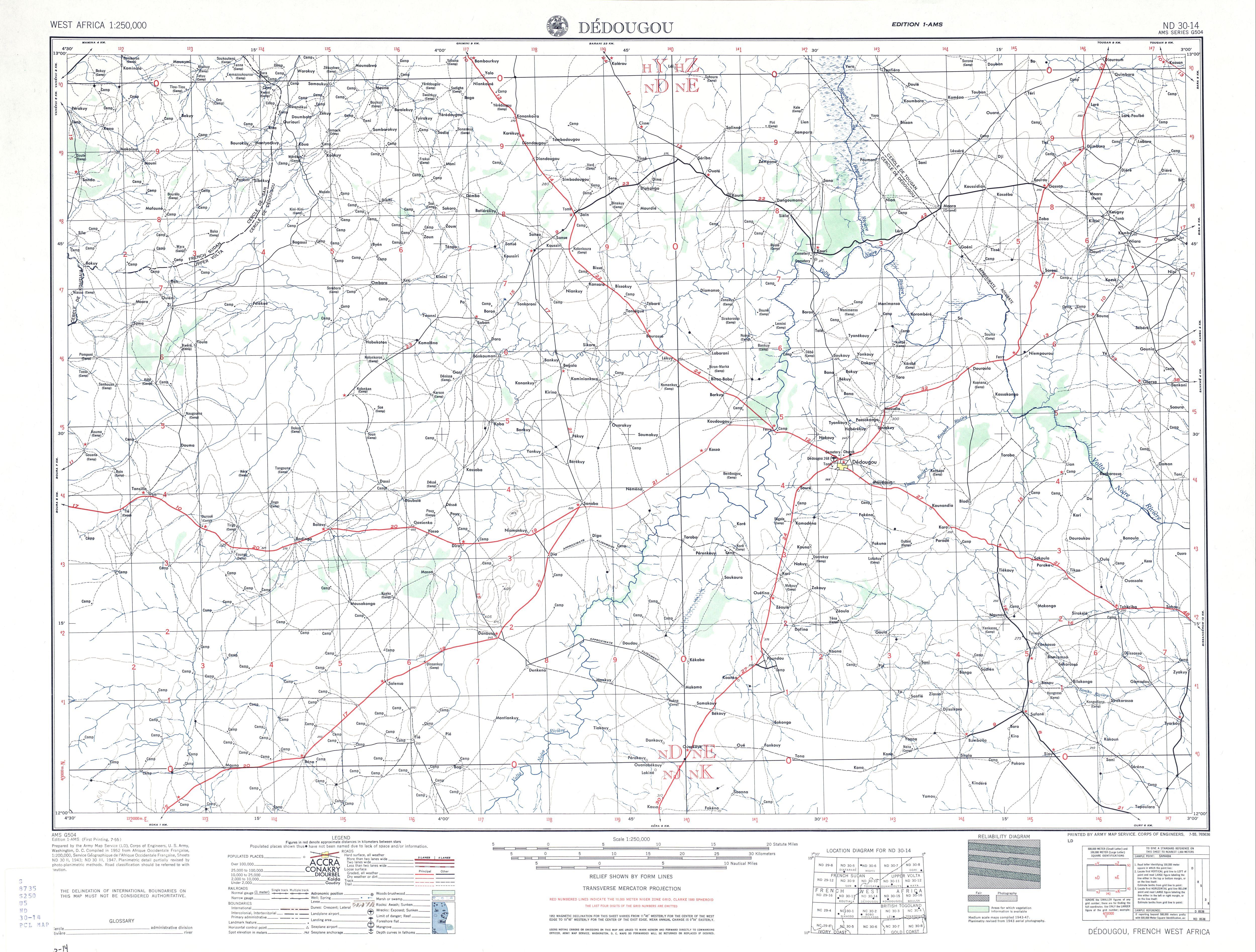 Hoja Dedougou del Mapa Topográfico de África Occidental 1955