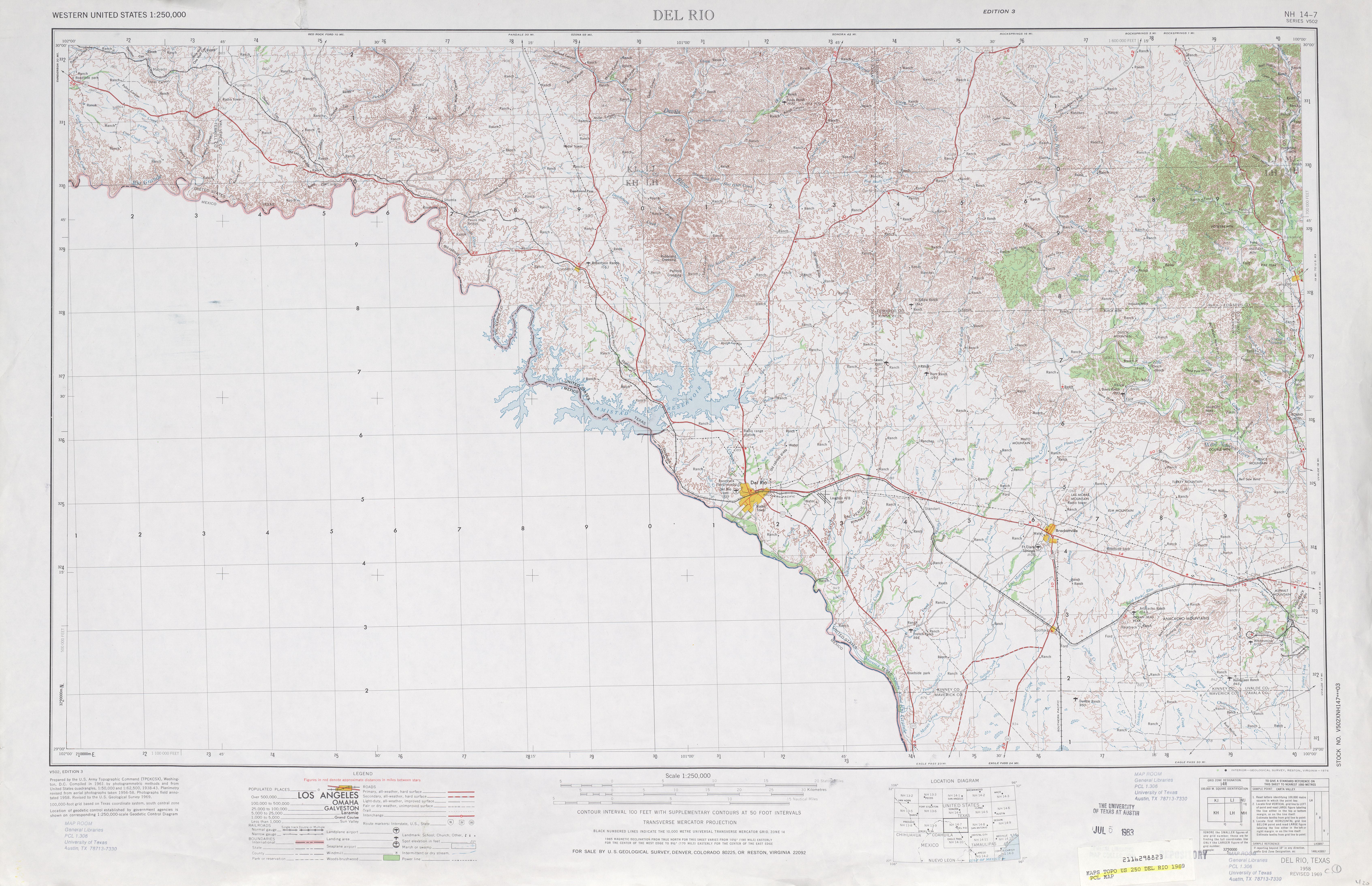 Hoja Del Rio del Mapa Topográfico de los Estados Unidos 1969