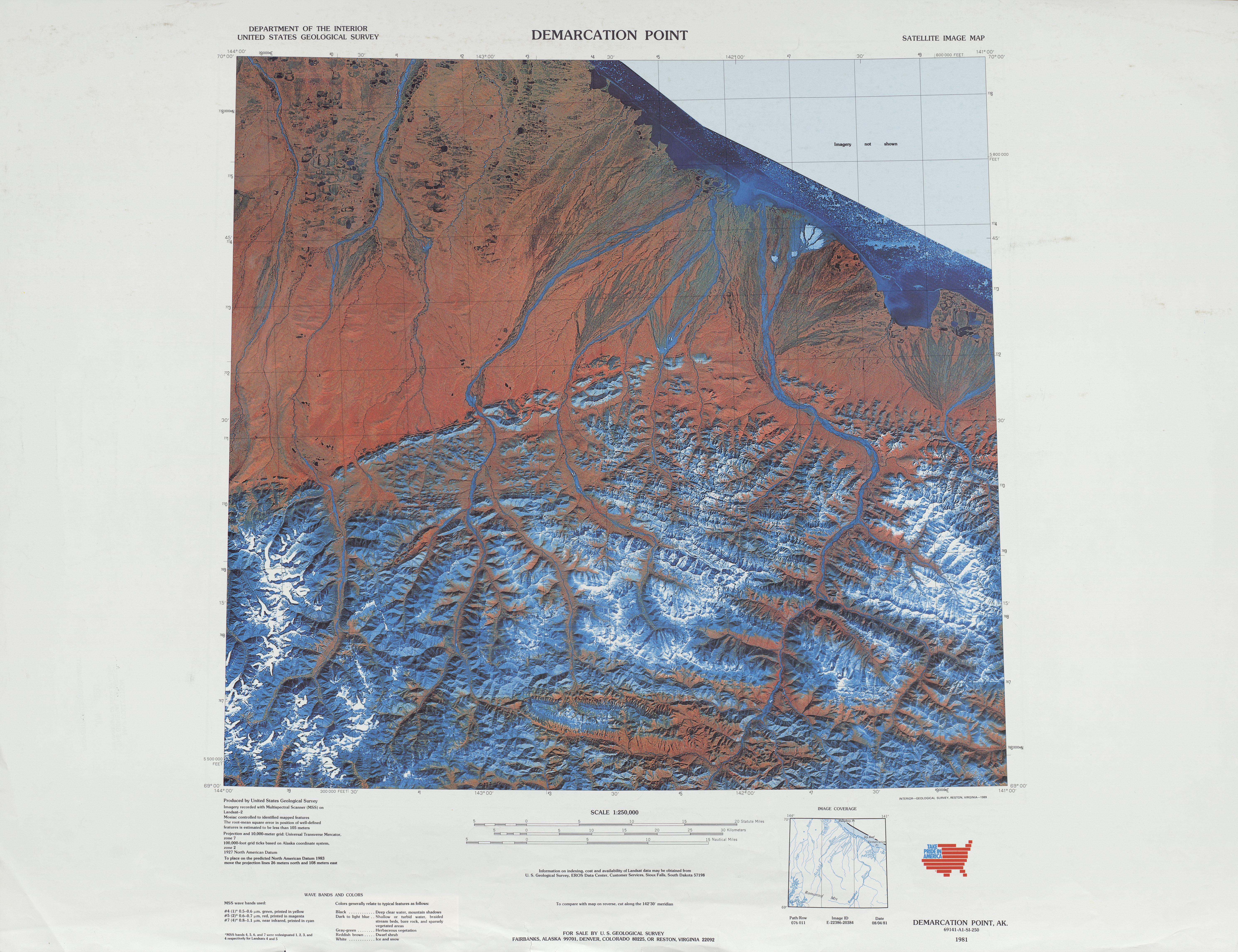 Hoja Demarcation Point de la Imagen Satelital de los Estados Unidos 1983