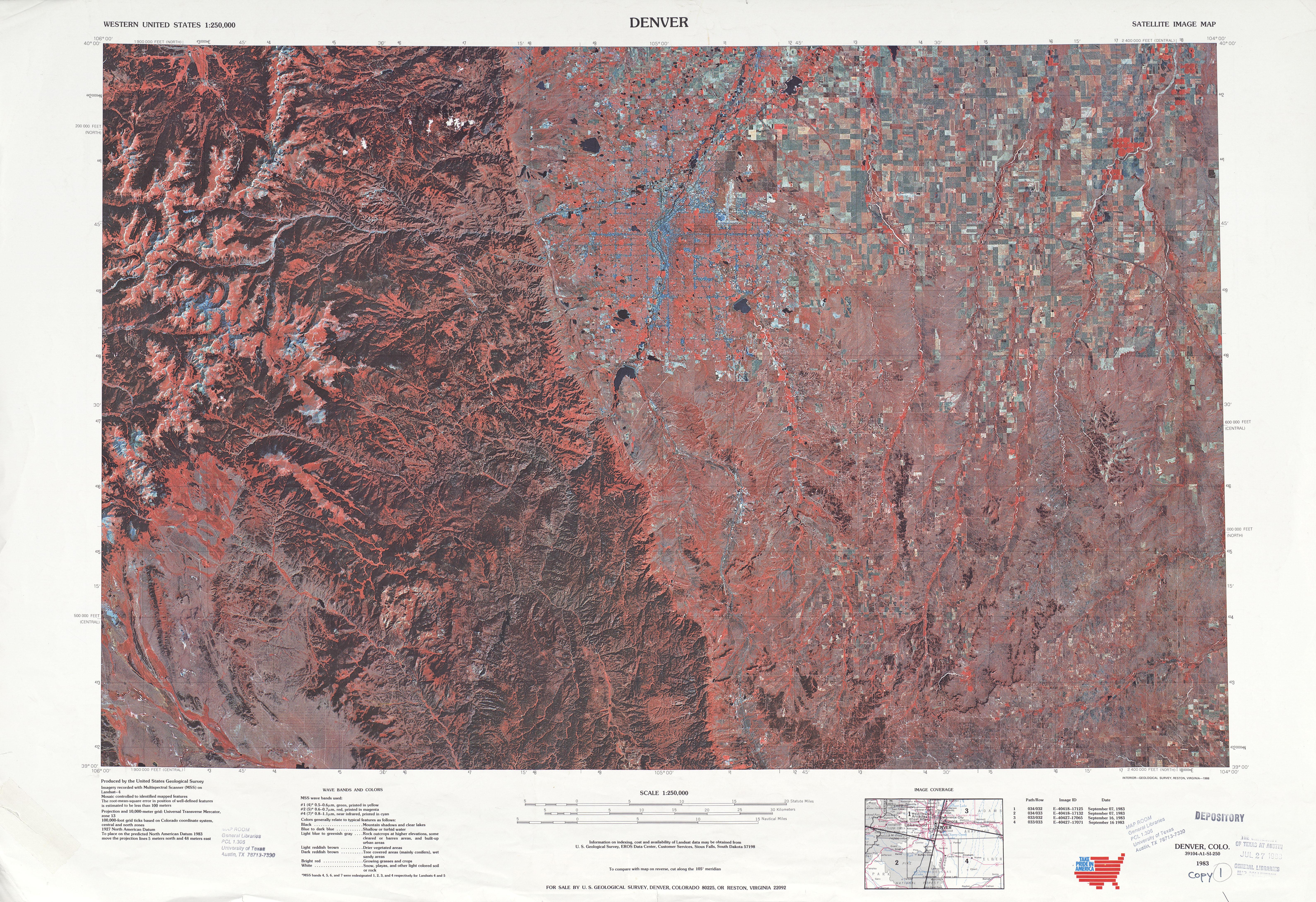 Hoja Denver de la Imagen Satelital de los Estados Unidos 1978