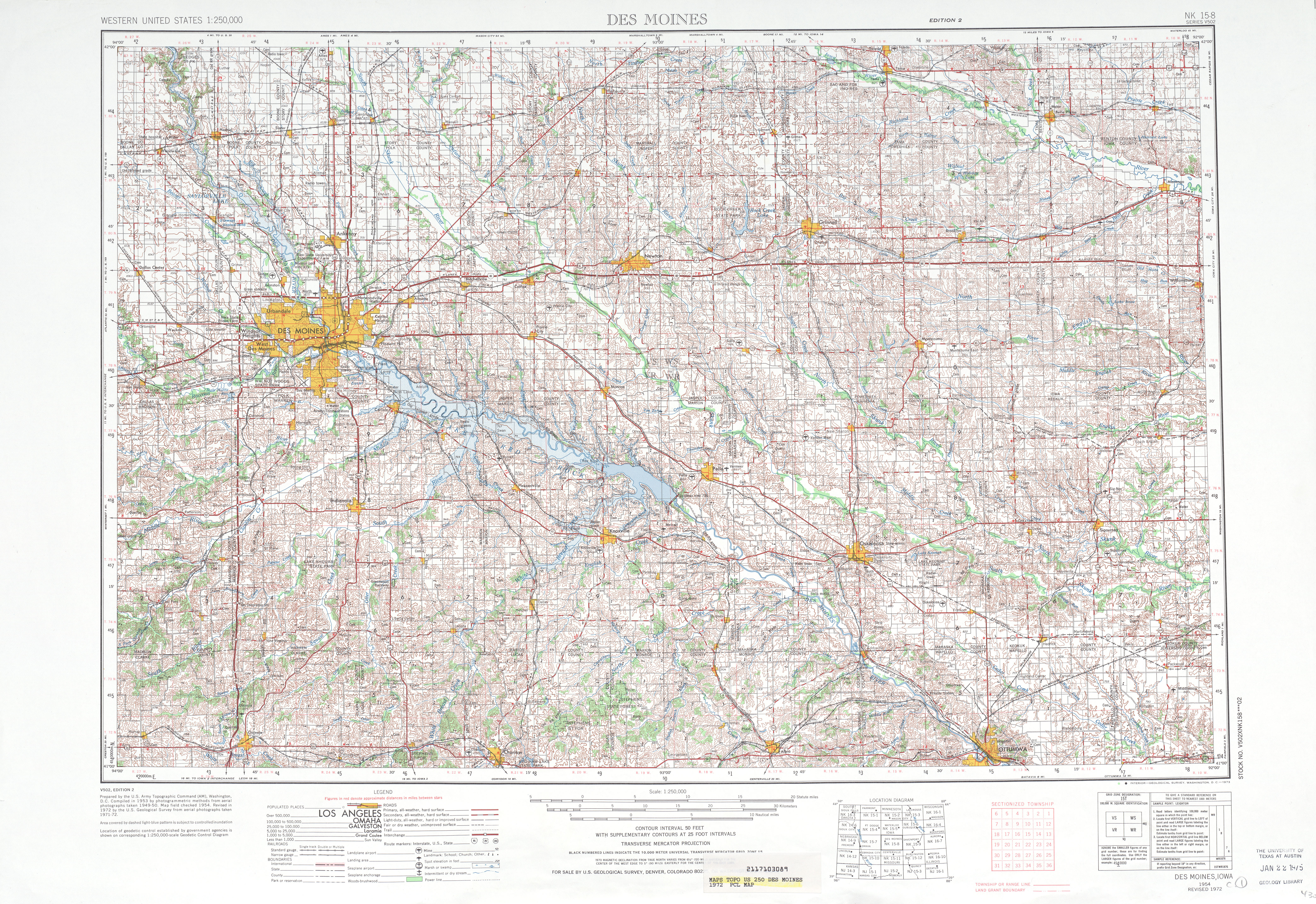 Des Moines Topographic Map Sheet, United States 1972
